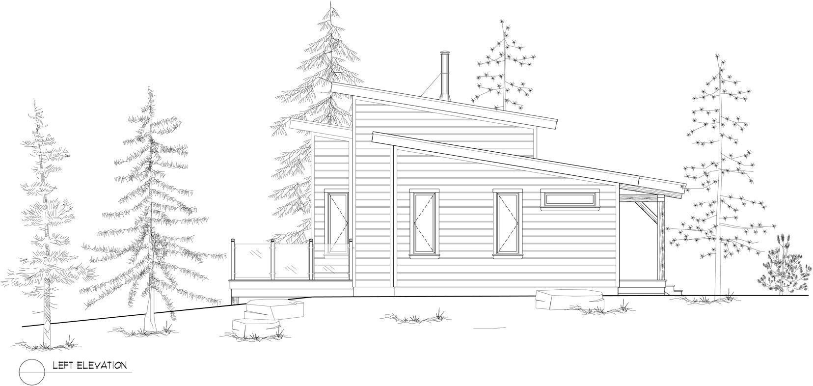Normerica Timber Frames, House Plan, The Kershaw 3808, Left Elevation