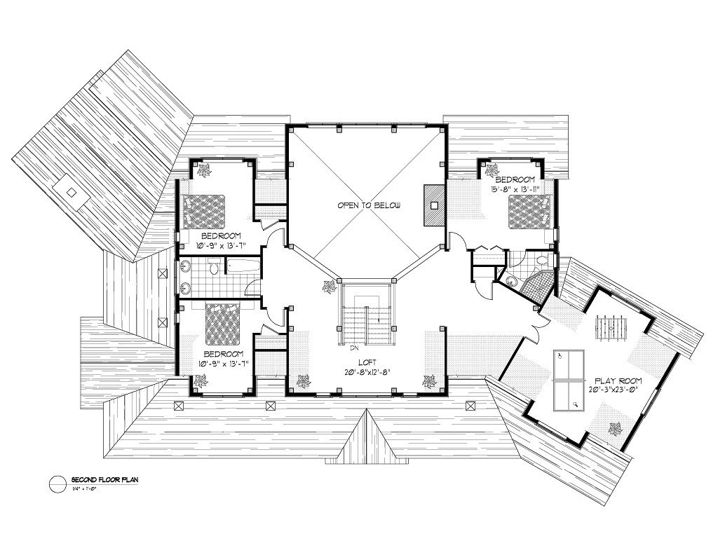 Normerica Timber Frame, House Plan, The Kearns 3510, Second Floor Layout
