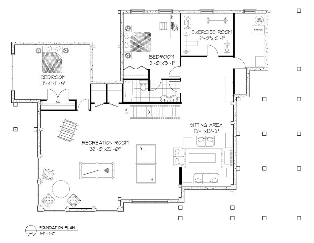 Normerica Timber Frames, House Plan, The Baril 3514, Basement Layout