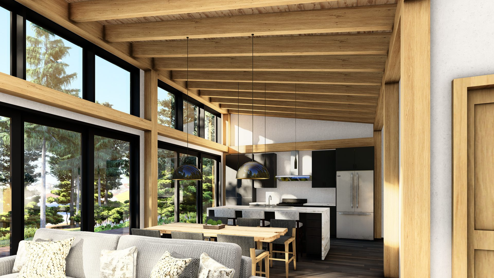 Normerica Timber Frames, House Plan, The Bayfield 3945, Interior, Dining Room, Living Room, Kitchen, Open Concept