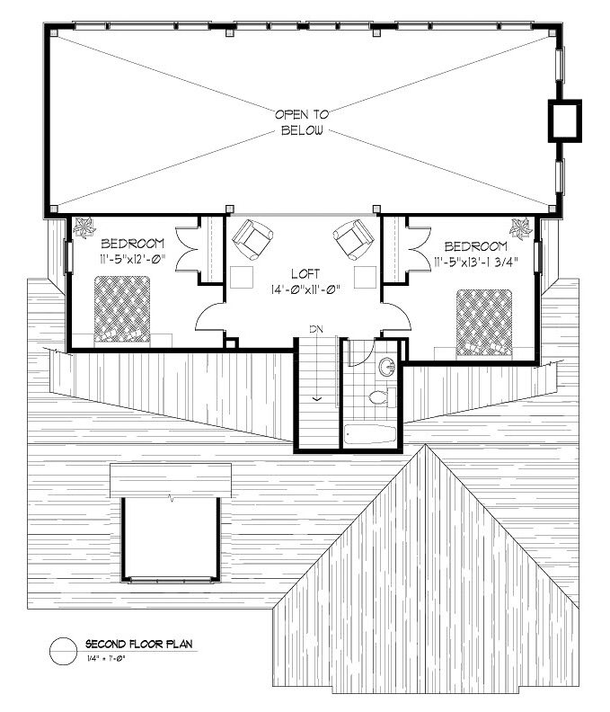 Normerica Timber Frames, House Plan, The Birches 3532, Second Floor Layout