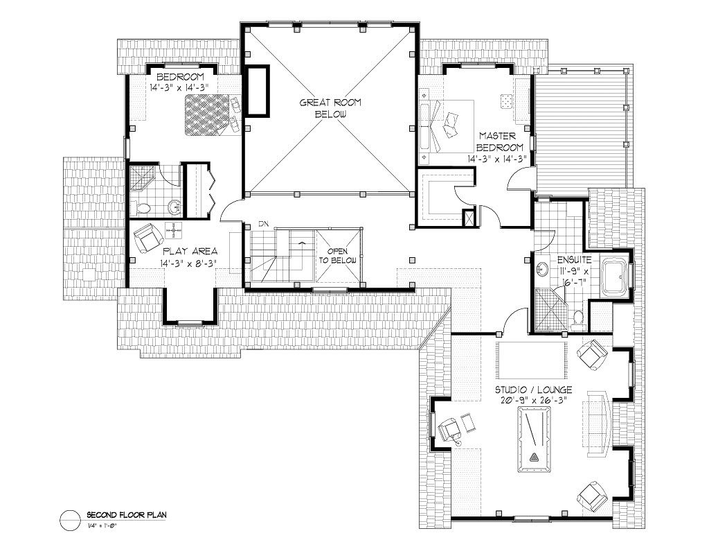 Normerica Timber Frames, House Plan, The Brennan 3576, Second Floor Layout