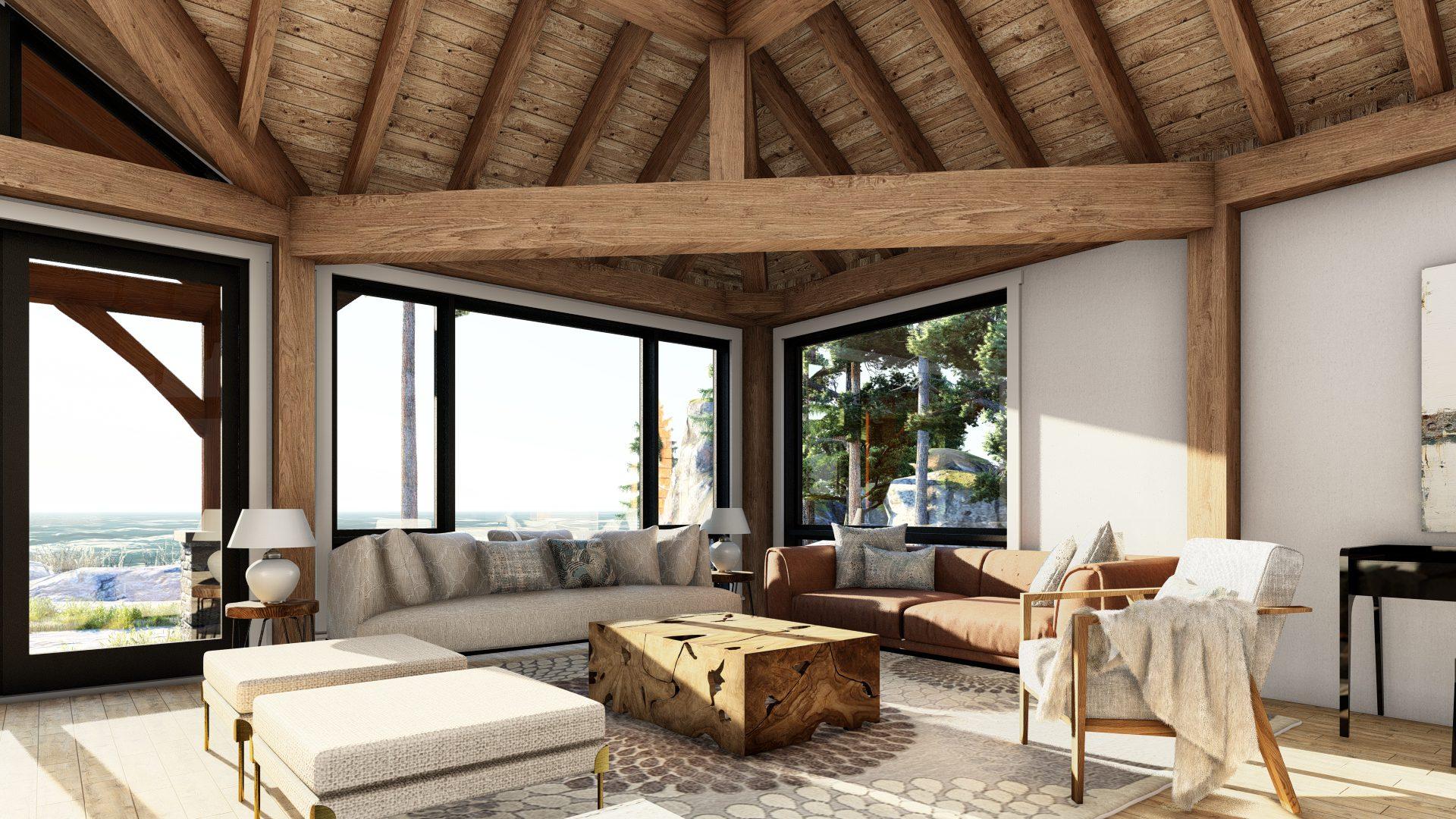 Normerica Timber Frames, House Plan, The Britt 3954, Interior, Living Room