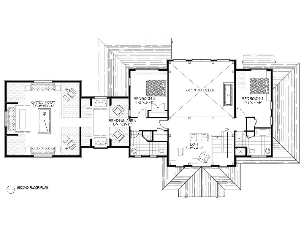 Normerica Timber Frames, House Plan, The Dufferin 3512, Second Floor Layout