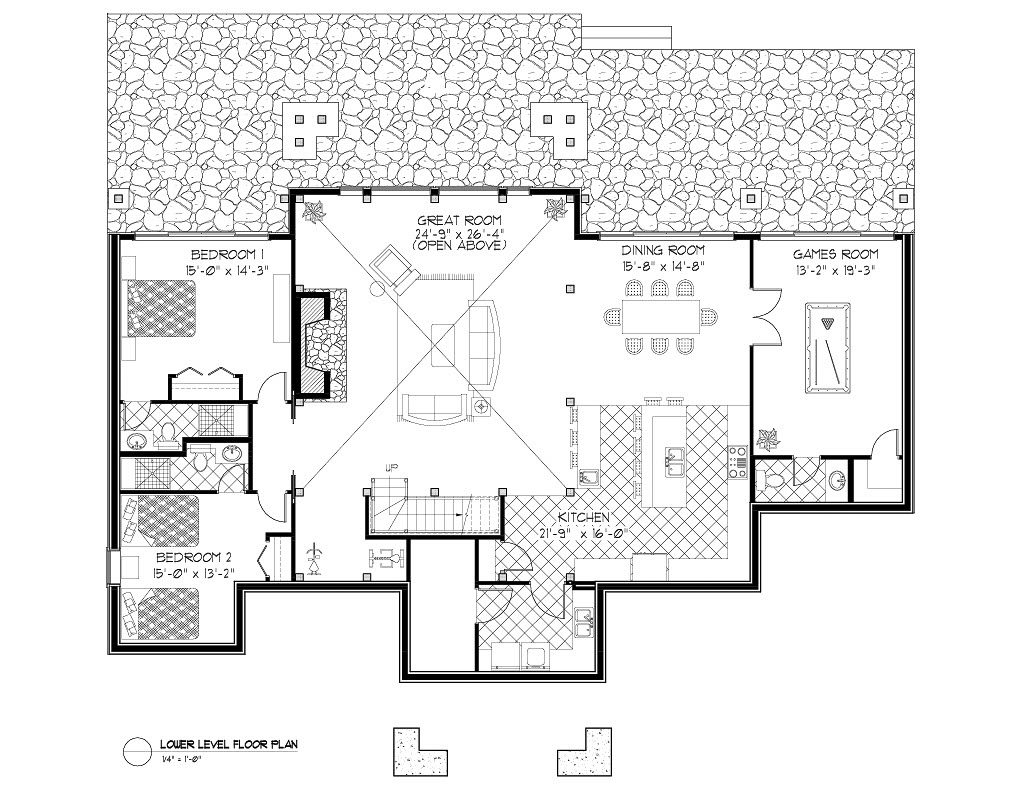 Normerica Timber Frames, House Plan, The Highrock 3579, Basement Layout