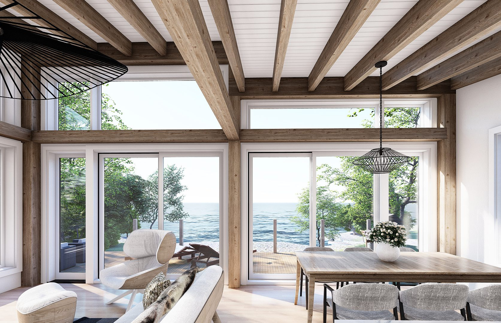 Normerica Timber Frames, House Plan, The Laurentian, Interior, Dining Room, Open Concept