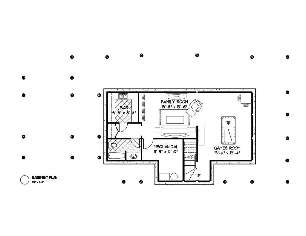 Normerica Timber Frames, House Plan, The Ranger 3575, Basement Layout