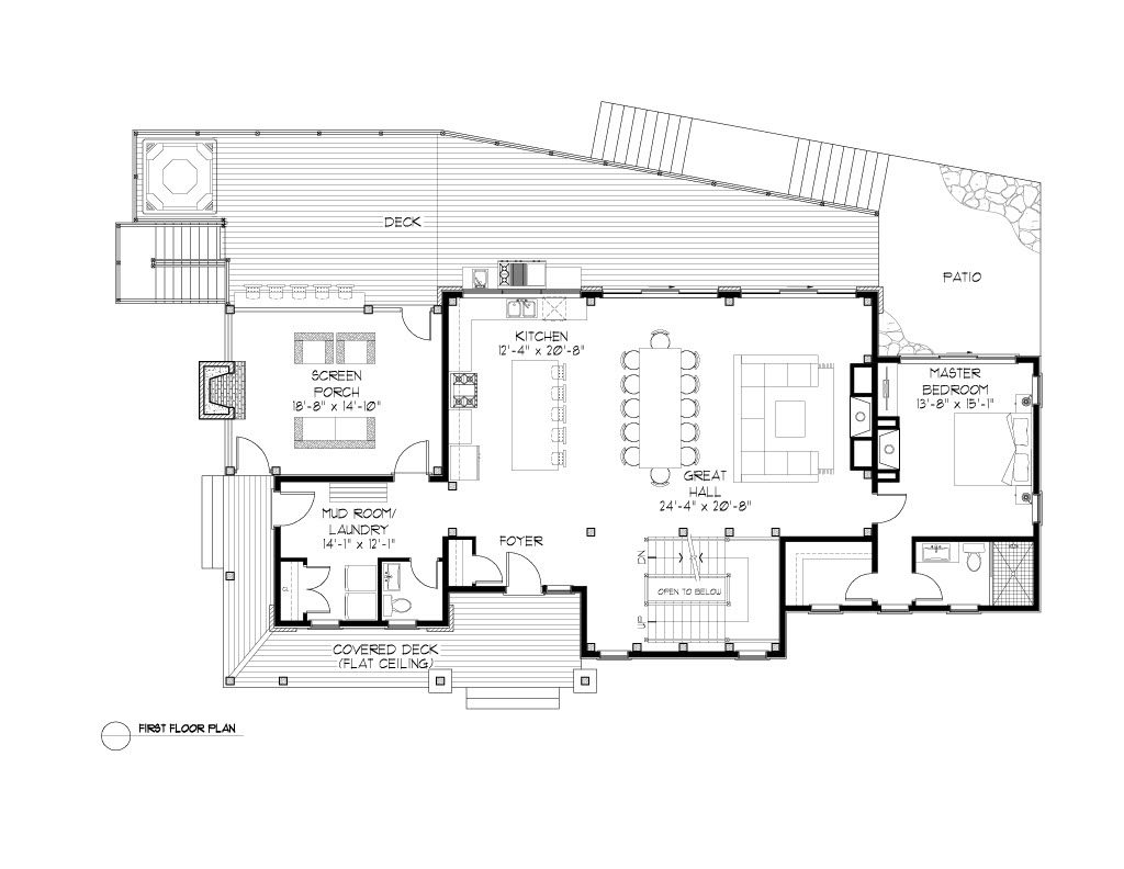 Normerica Timber Frames, House Plan, The Rosseau 3829, First Floor Layout