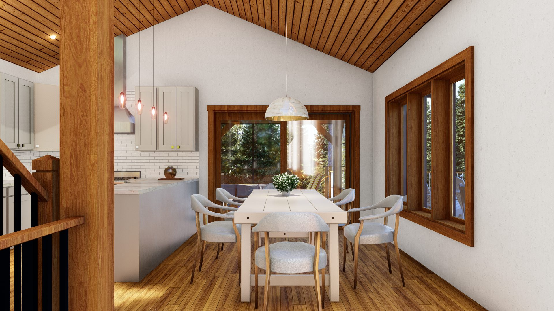 Normerica Timber Frames, House Plans, The Tobermory 3949, Interior, Dining Room, Kitchen