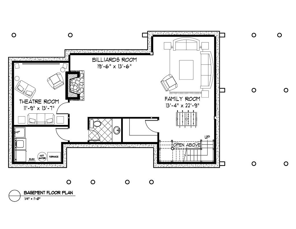 Normerica Timber Frame, House Plan, The Kershaw 3586, Basement Layout