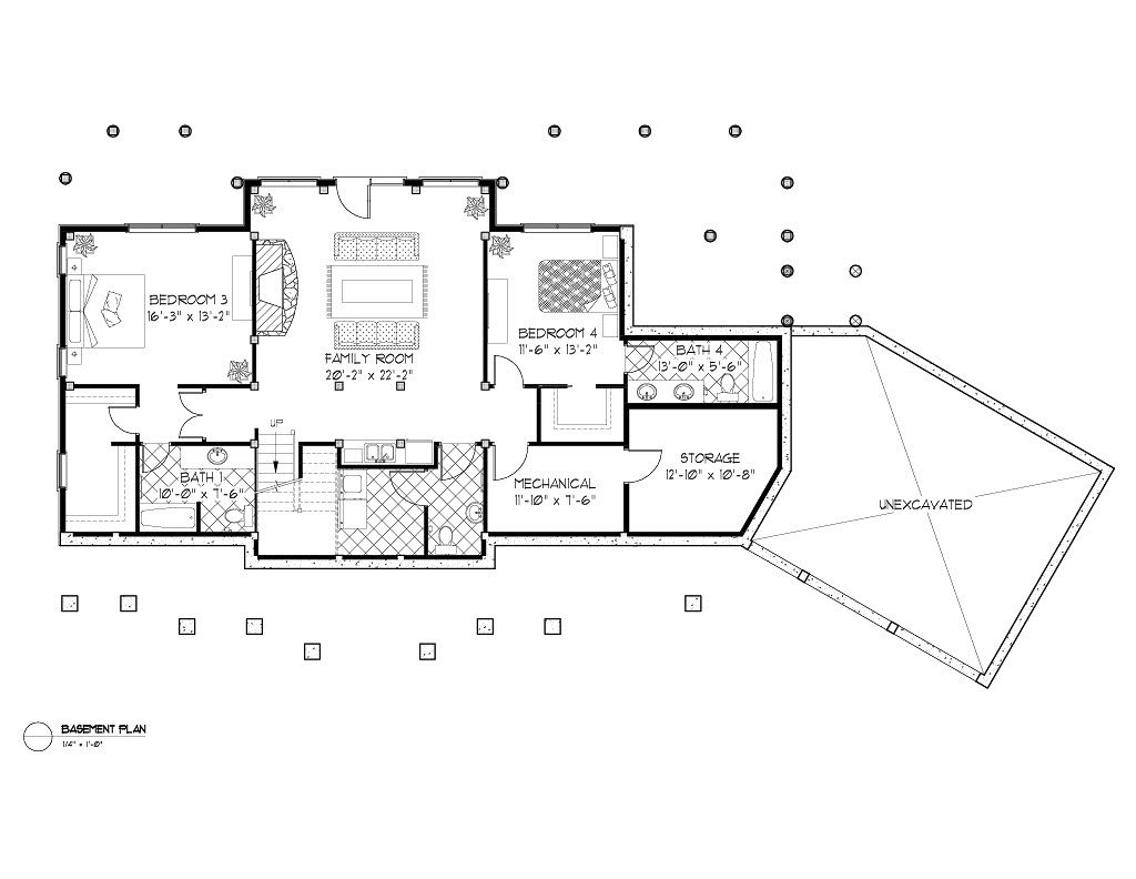 Normerica Timber Frames, House Plan, Algoma 3538, Basement Layout