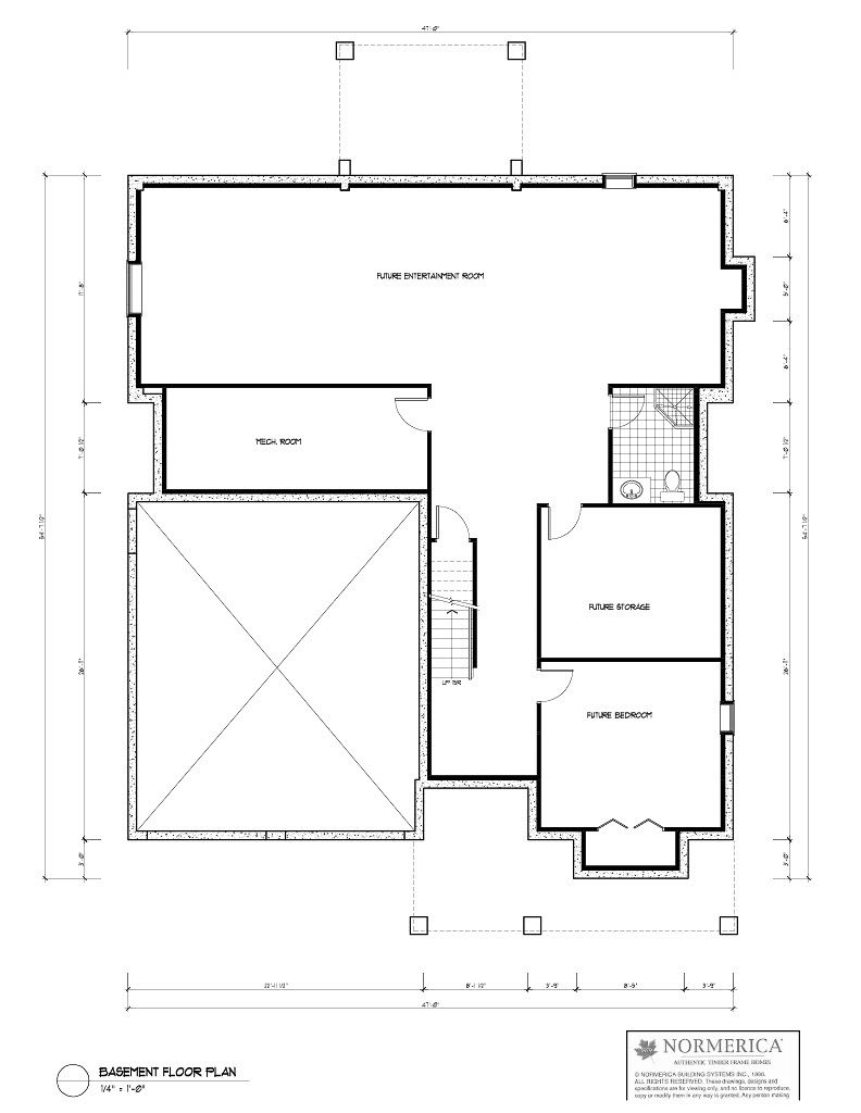 Normerica Timber Frames, House Plan, The Birches 3532, Basement Layout