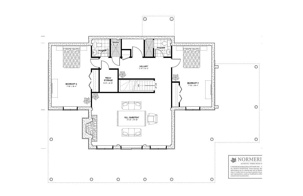 Normerica Timber Frames, House Plan, The Carleton 3115, Basement Layout
