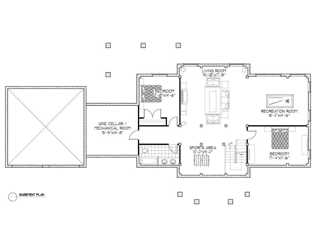 Normerica Timber Frames, House Plan, The Dufferin 3512, Basement Layout
