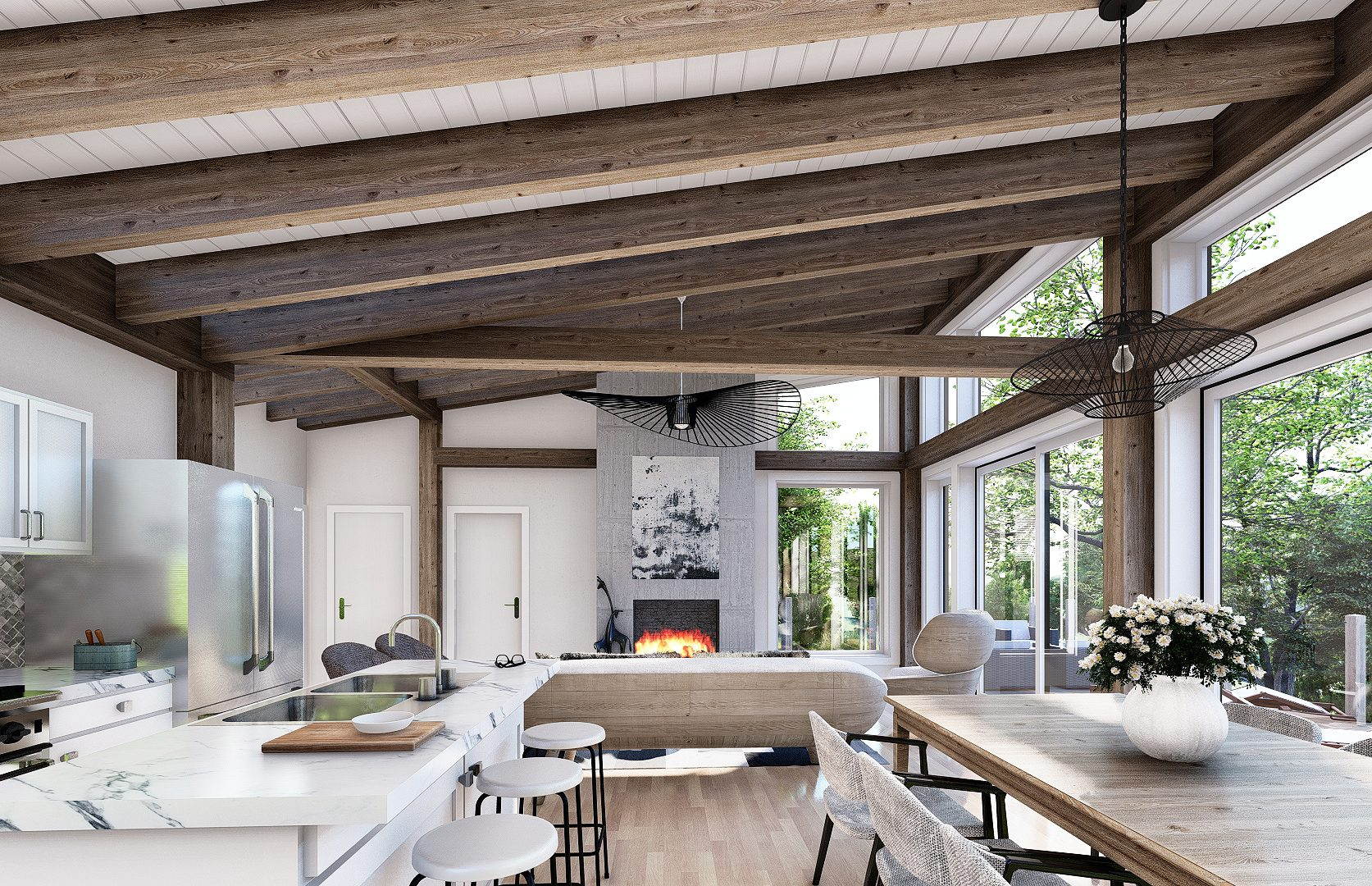 Normerica Timber Frames, House Plan, The Laurentian, Interior, Kitchen, Dining Room, Living Room, Fireplace, Open Concept