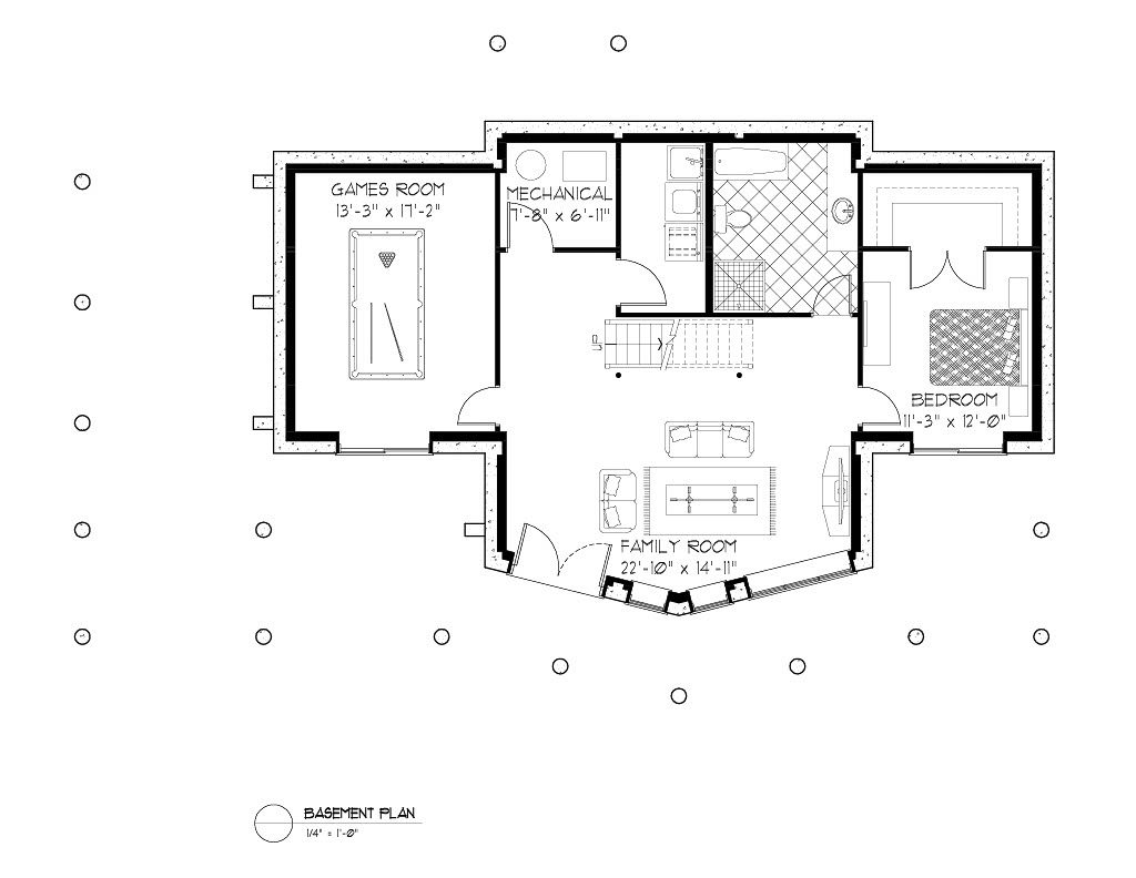Normerica Timber Frames, House Plan, The Lennox 3546, Basement Layout