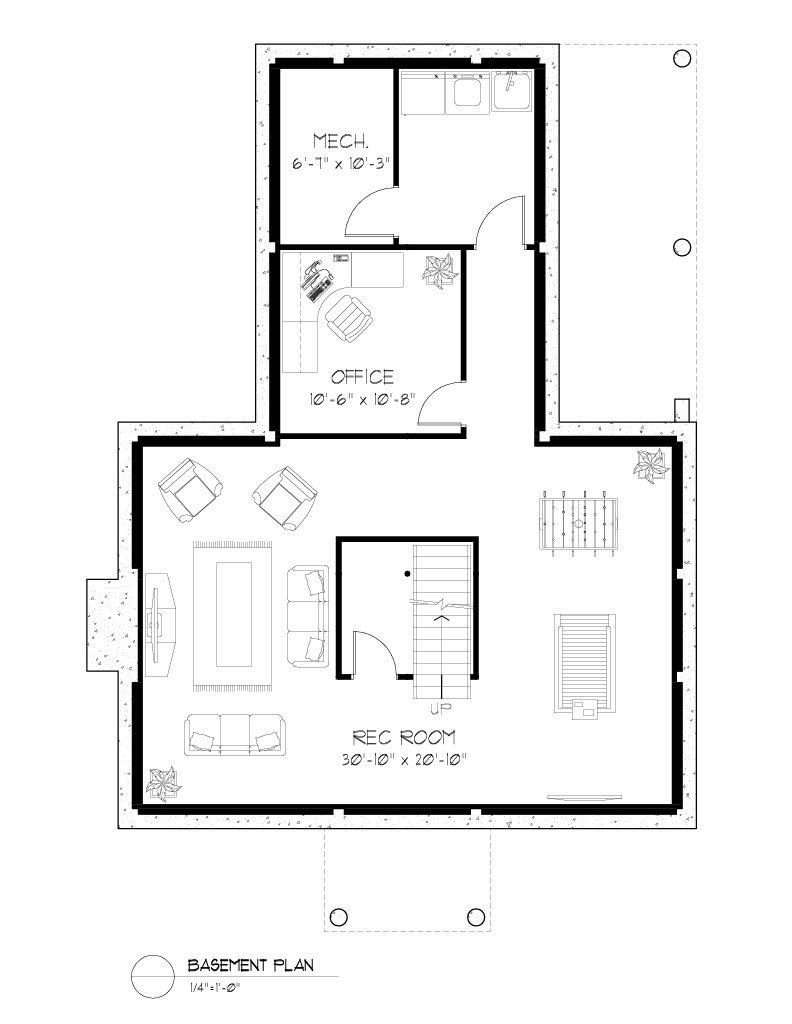 Normerica Timber Frames, House Plan, The Niagara 3539, Basement Layout