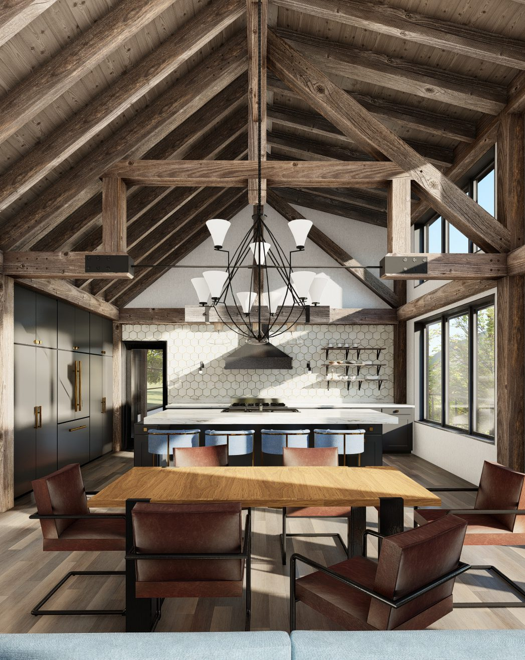 Normerica Timber Frames, House Plan, The Redstone 3920, Interior, Dining Room, Kitchen, Open Concept, Cathedral Ceiling