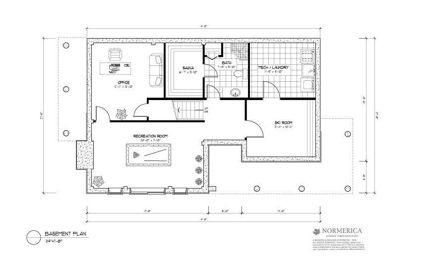 Normerica Timber Frames, House Plan, The Simcoe 3239, Basement Layout
