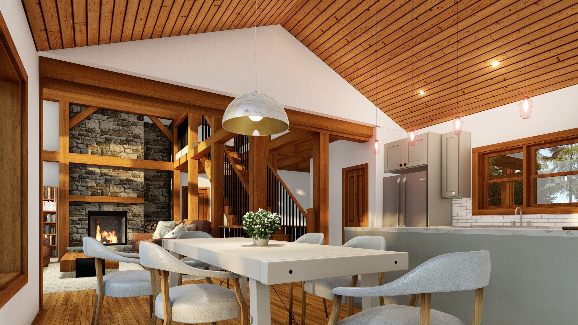Normerica Timber Frames, House Plans, The Tobermory 3949, Interior, Dining Room