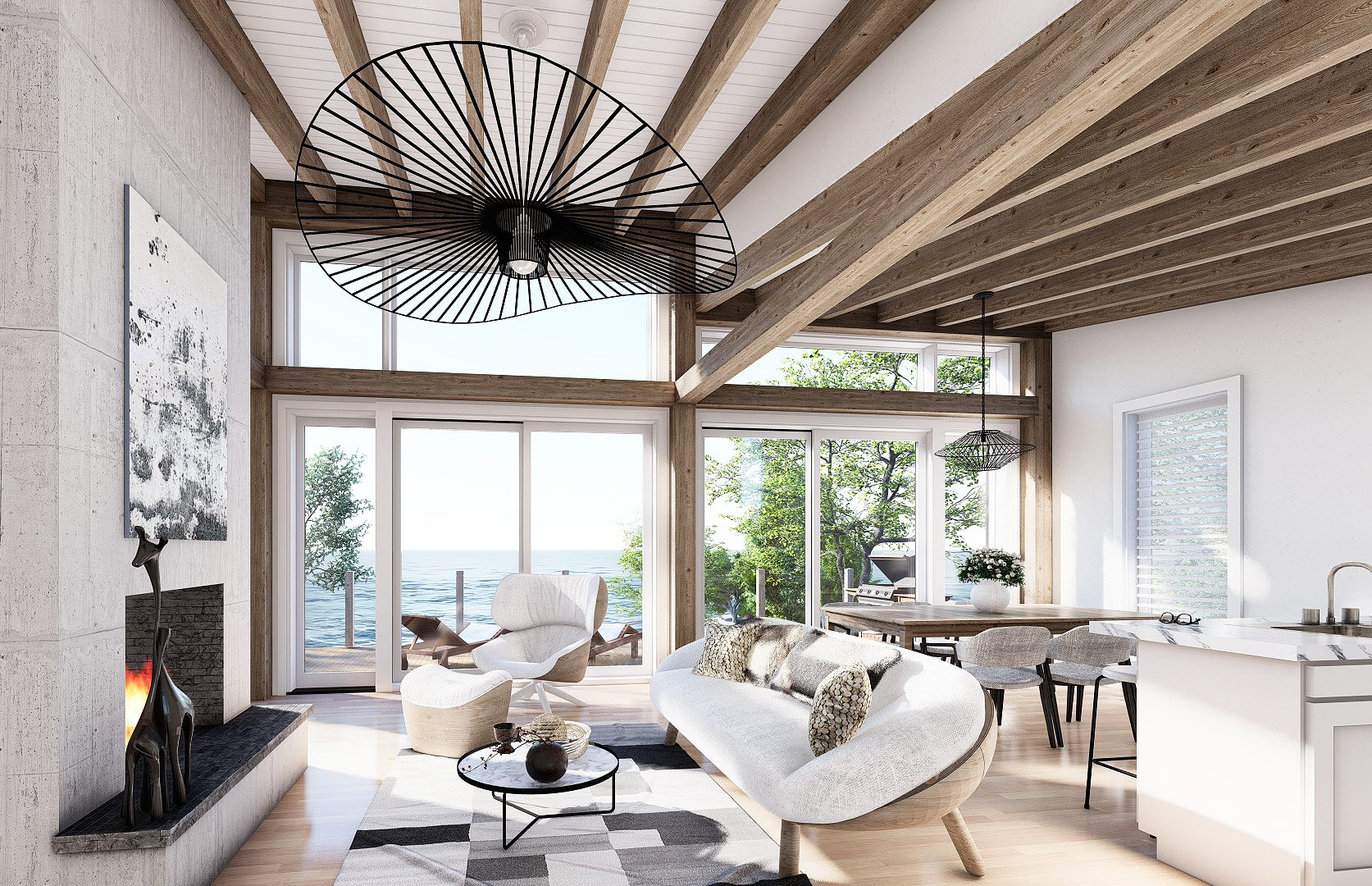 Normerica Timber Frames, House Plan, The Laurentian, Interior, Living Room, Open Concept