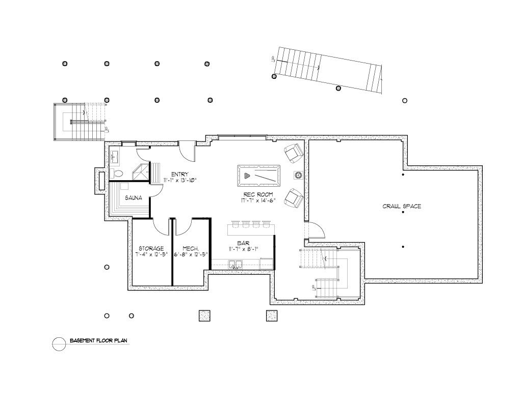 Normerica Timber Frames, House Plan, The Rosseau 3829, Basement Layout