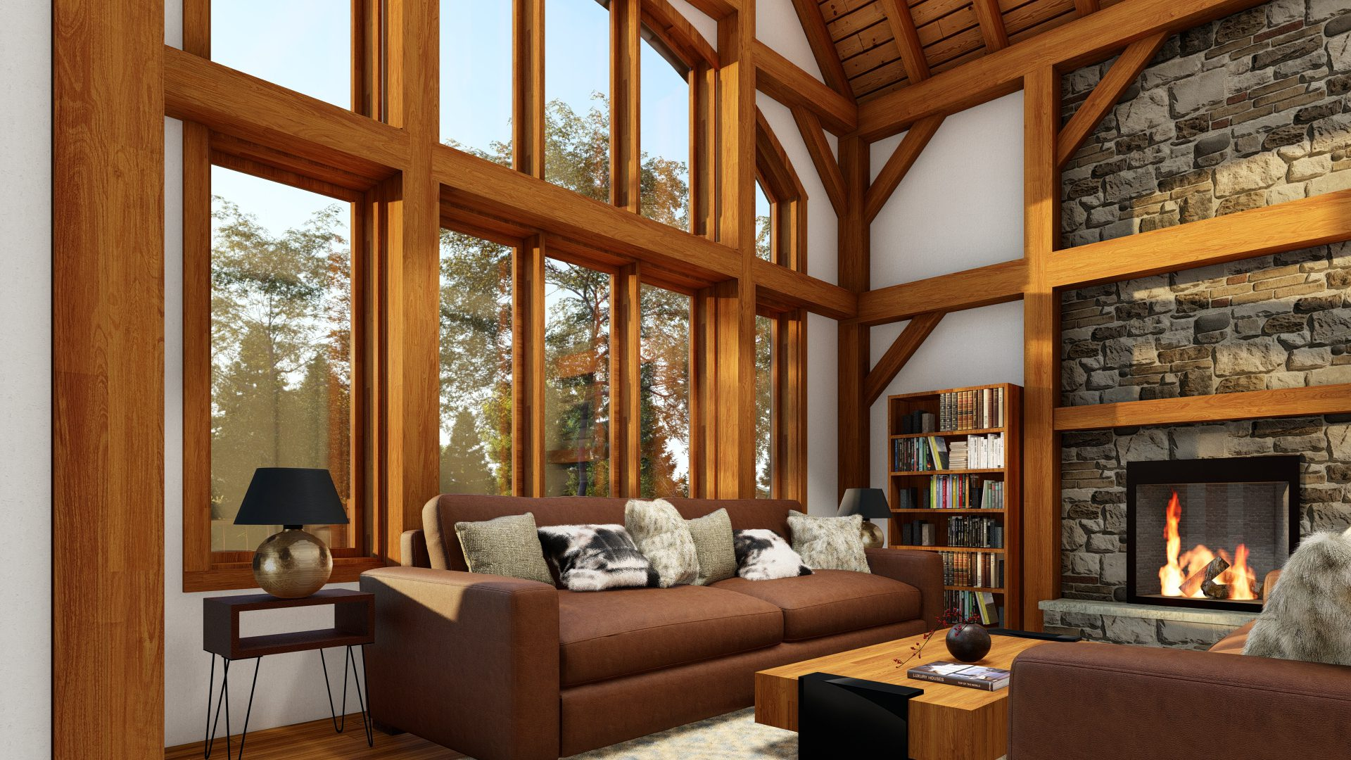 Normerica Timber Frames, House Plans, The Tobermory 3949, Interior, Living Room, Fireplace, Windows