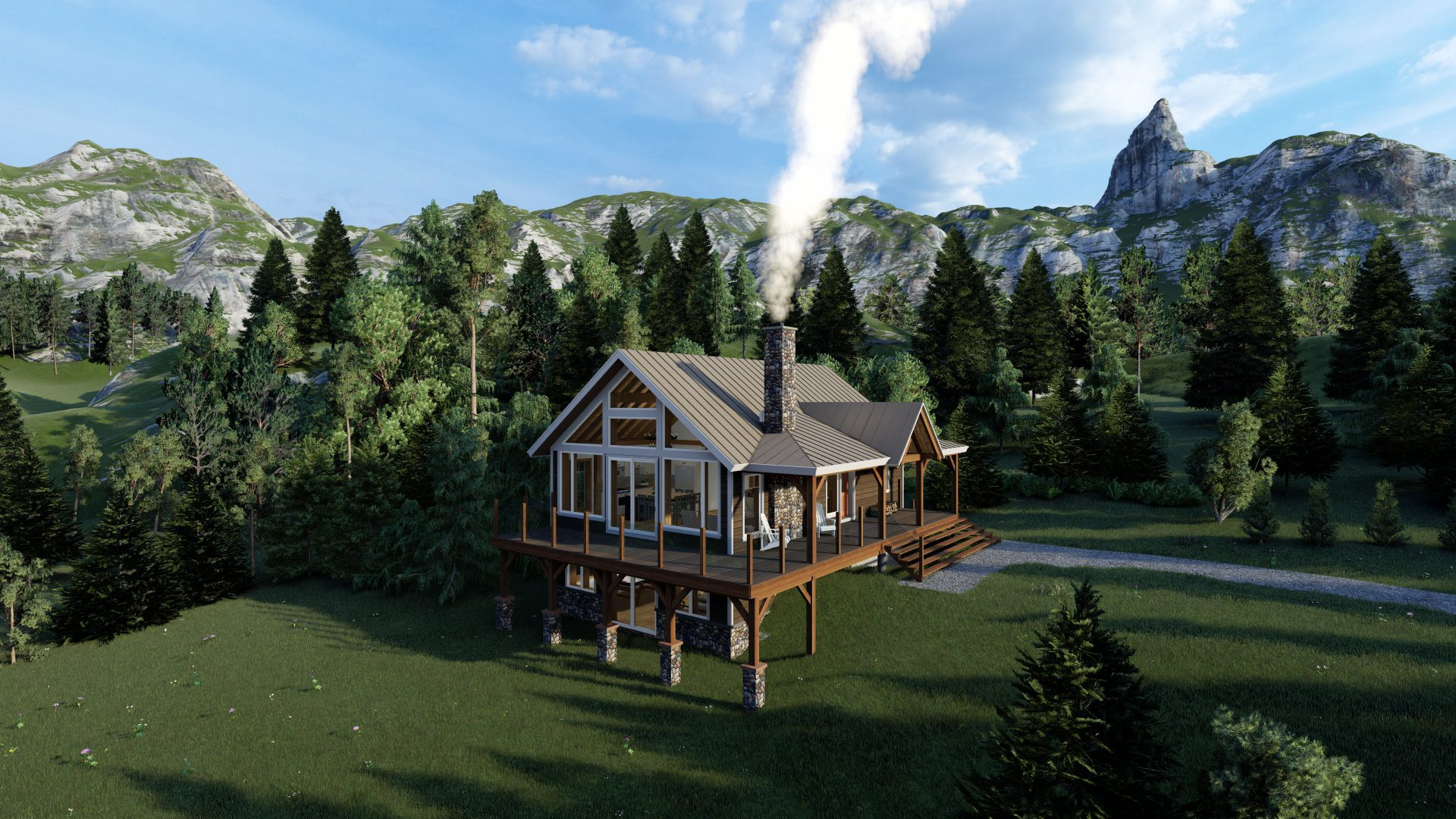 Timber Frame Open Concept House Plans   The Rouge   Normerica   Exterior, Front, Side, Summer
