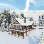 Timber Frame Open Concept House Plans   The Rouge   Normerica   Exterior, Front, Side, Winter