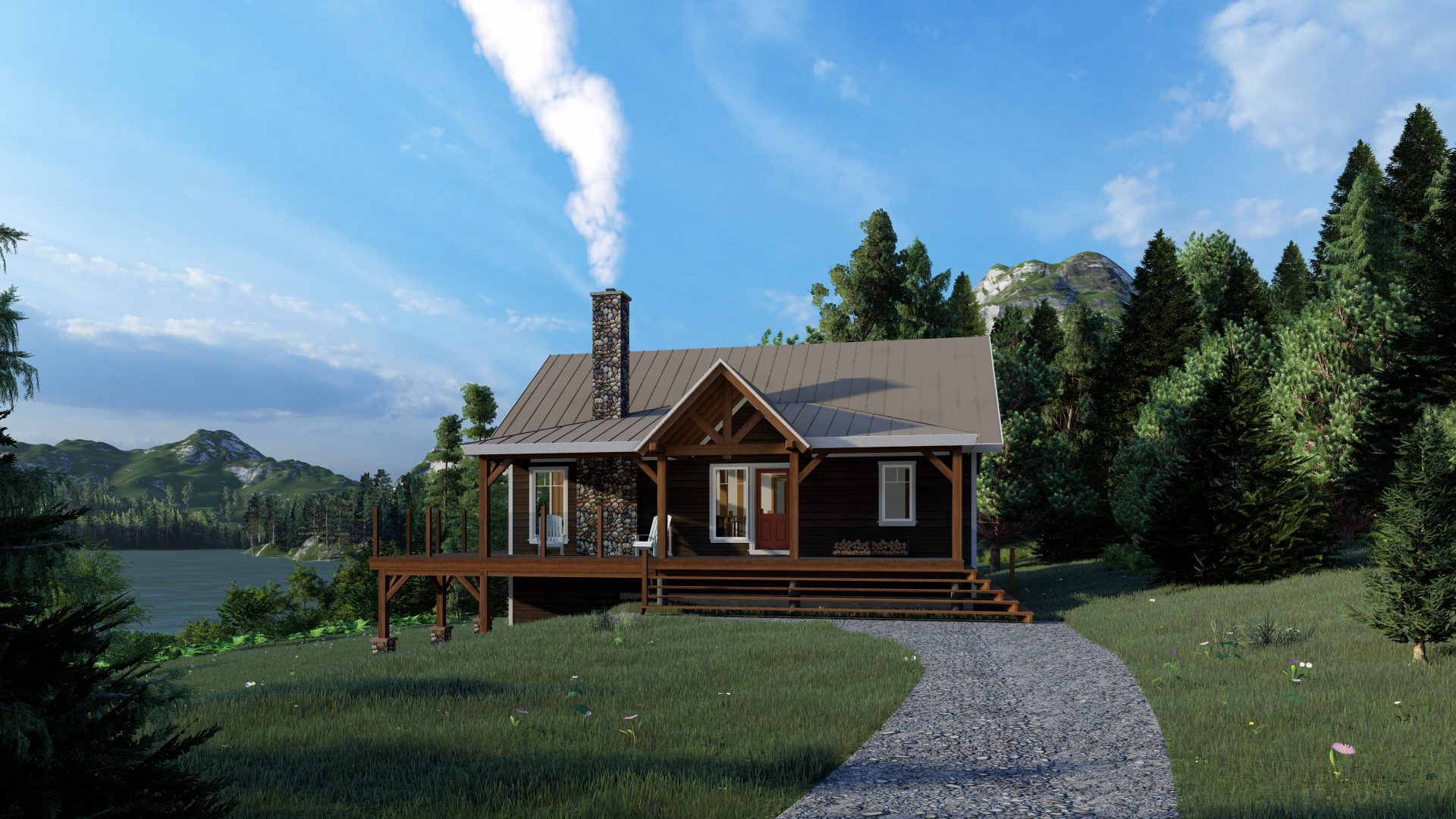 Timber Frame Open Concept House Plans   The Rouge   Normerica   Exterior, Front, Summer
