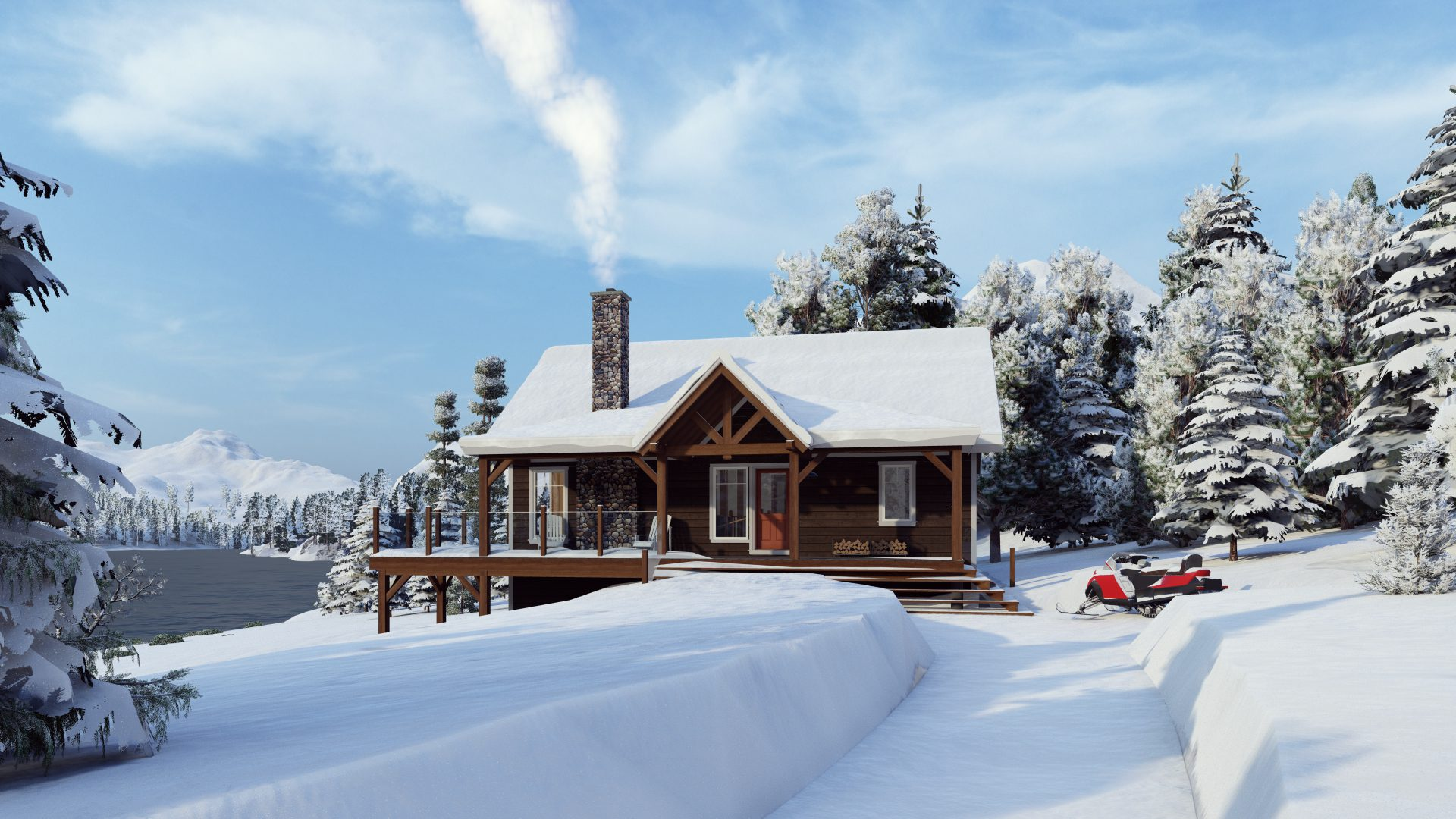 Timber Frame Open Concept House Plans   The Rouge   Normerica   Exterior, Front, Winter