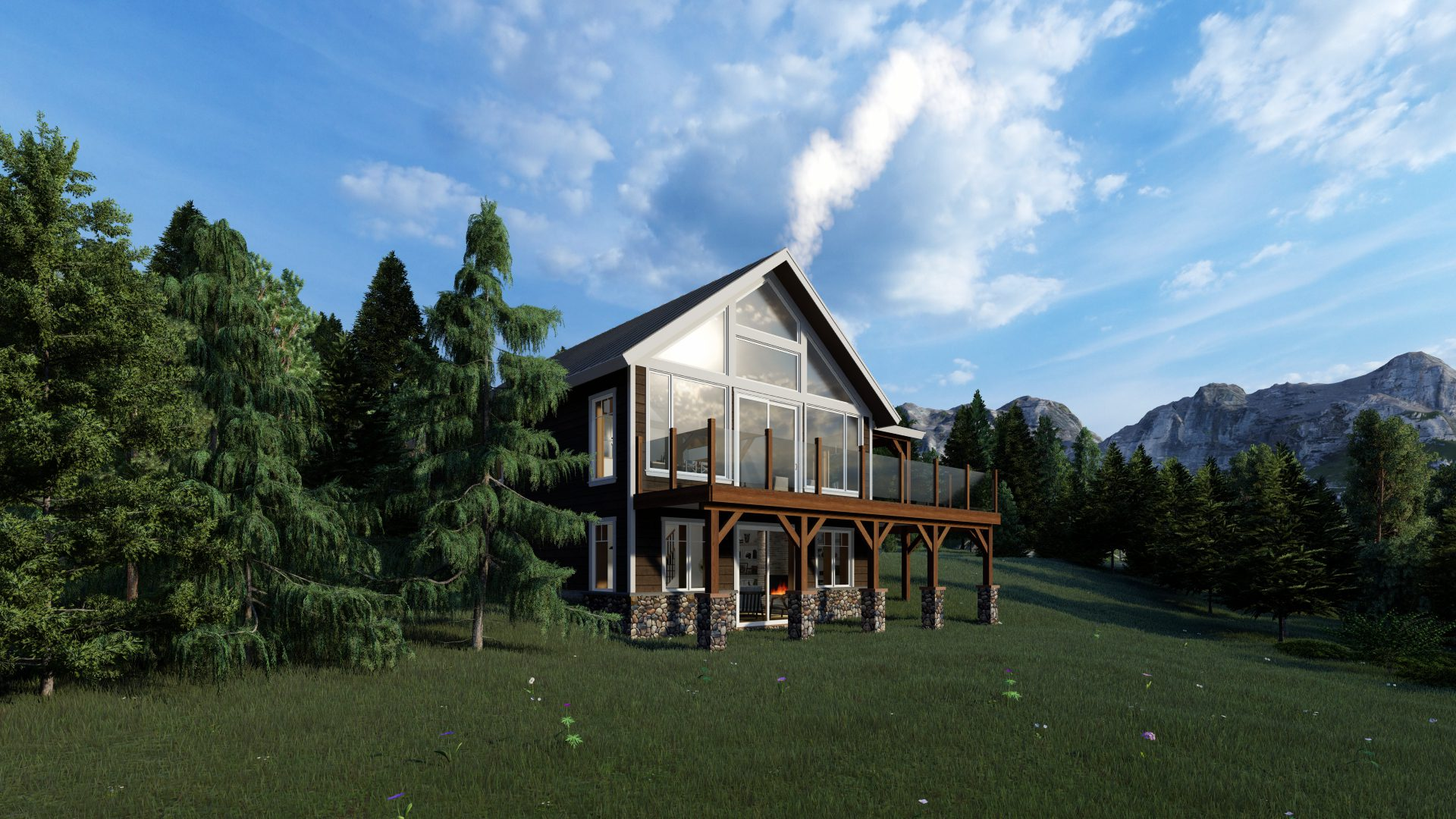 Timber Frame Open Concept House Plans   The Rouge   Normerica   Exterior, Side, Summer