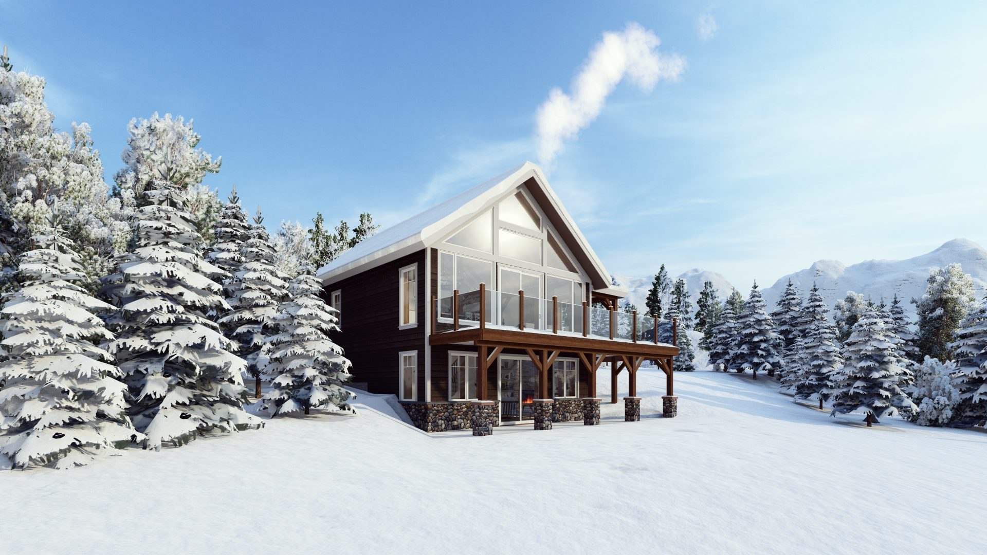 Timber Frame Open Concept House Plans   The Rouge   Normerica   Exterior, Side, Winter