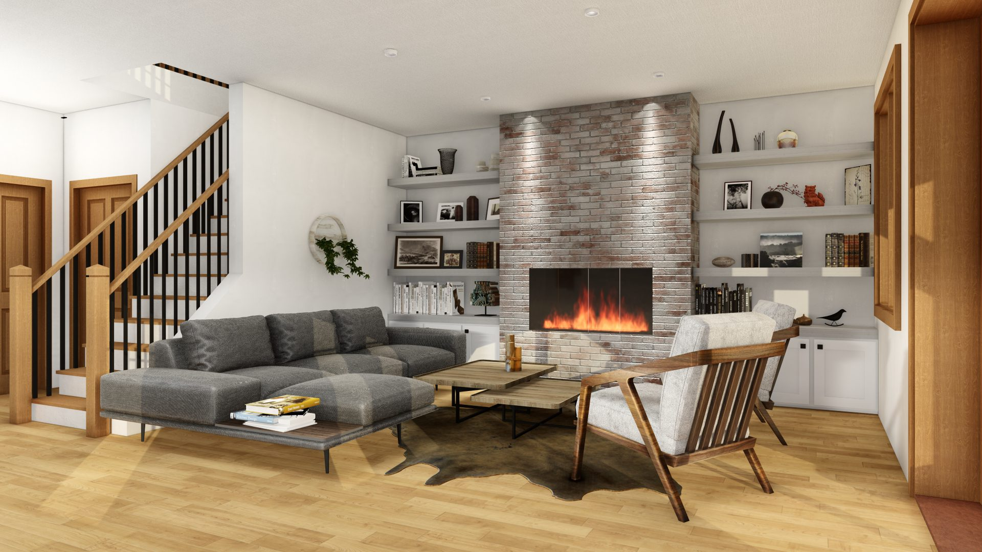 Timber Frame Open Concept House Plans   The Rouge   Normerica   Interior, Basement, Recreation Room