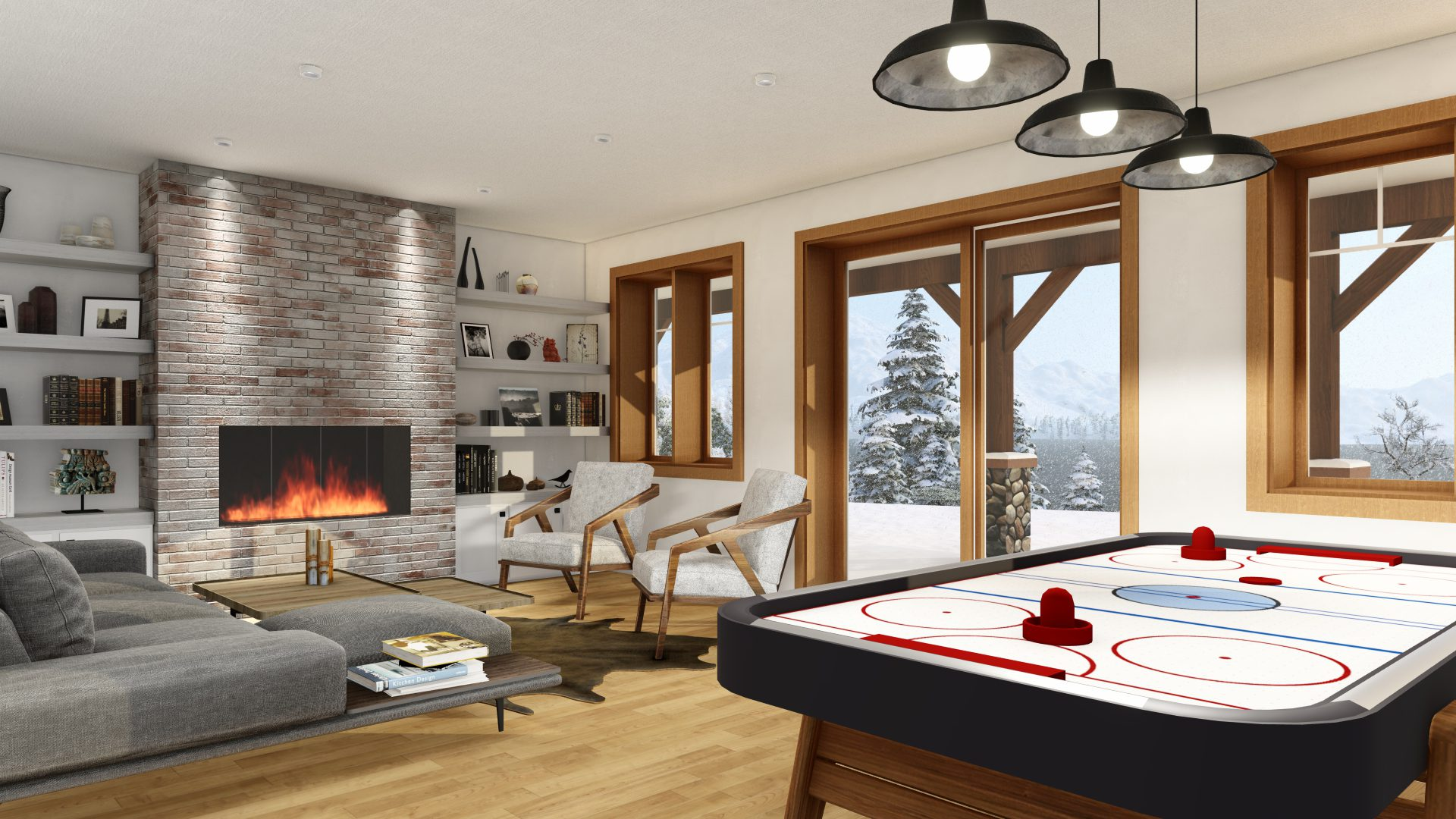 Timber Frame Open Concept House Plans   The Rouge   Normerica   Interior, Basement, Walkout, Recreation Room, Games Room