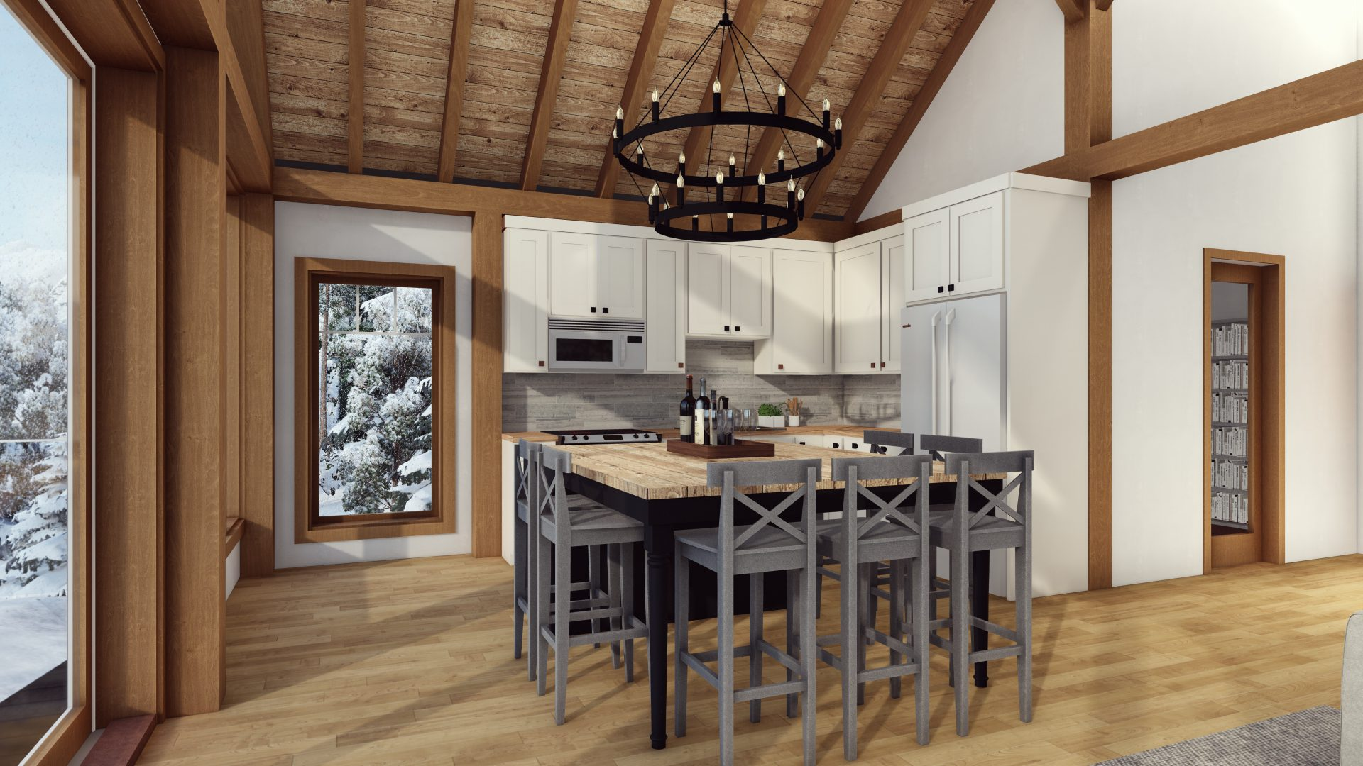 Timber Frame Open Concept House Plans   The Rouge   Normerica   Interior, Dining Room, Kitchen