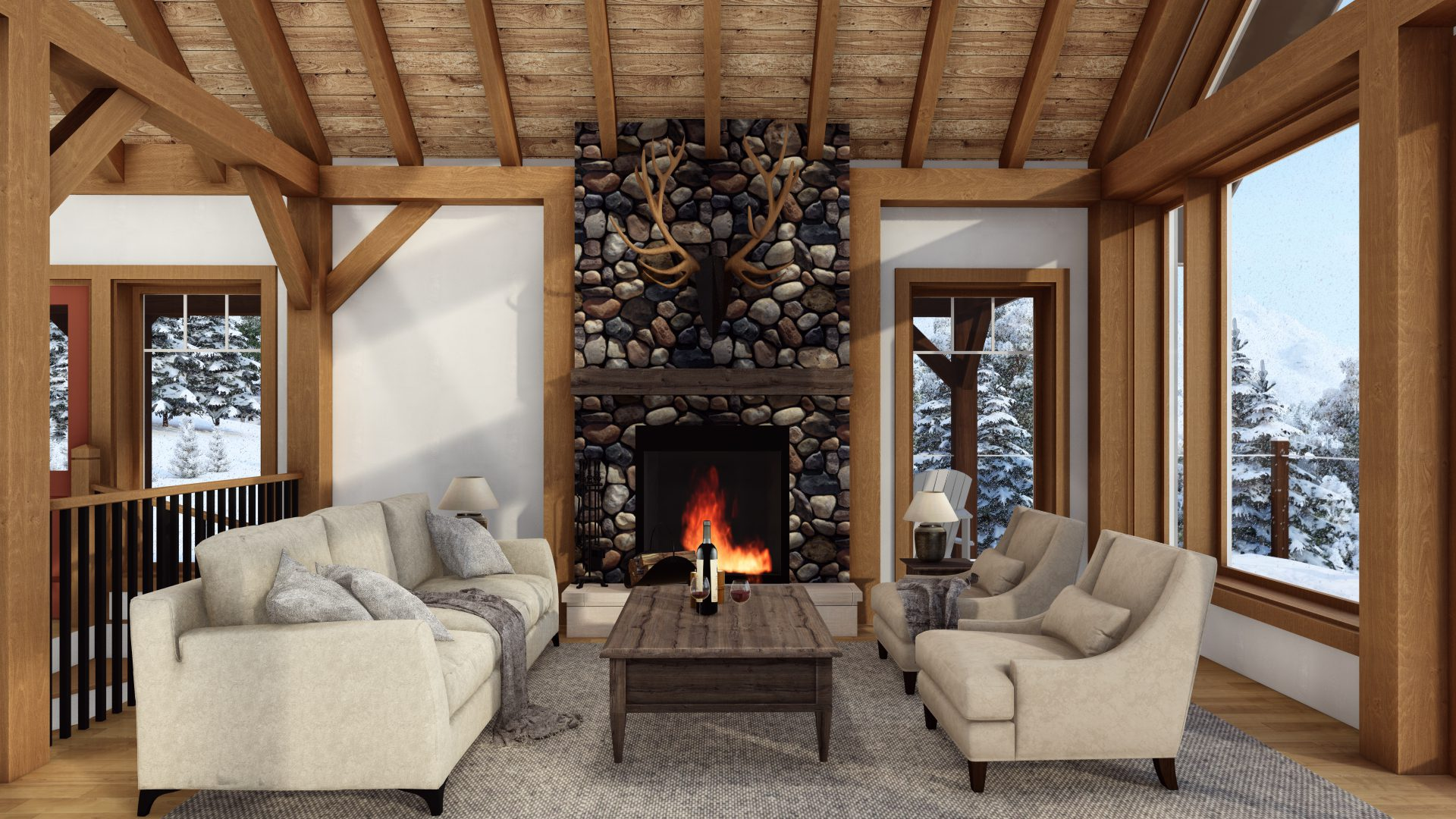 Timber Frame Open Concept House Plans   The Rouge   Normerica   Interior, Living Room, Fireplace