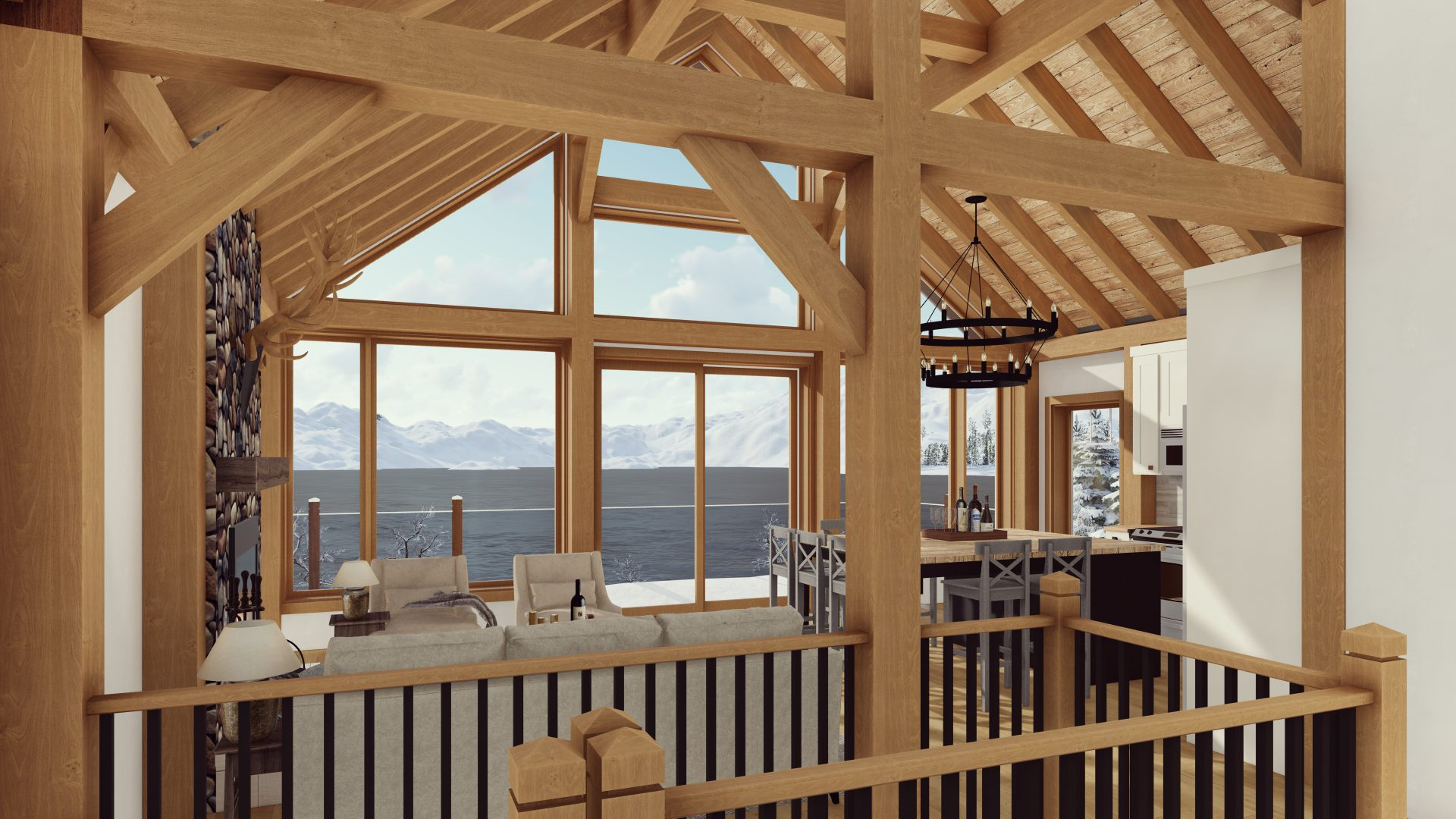 Timber Frame Open Concept House Plans   The Rouge   Normerica   Interior, Living Room, Kitchen, Dining Room, Open Concept, Cathedral Ceiling