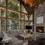 Normerica Timber Frames, Interior, Great Room, Living Room, Fireplace, Cathedral Ceiling, Cottage