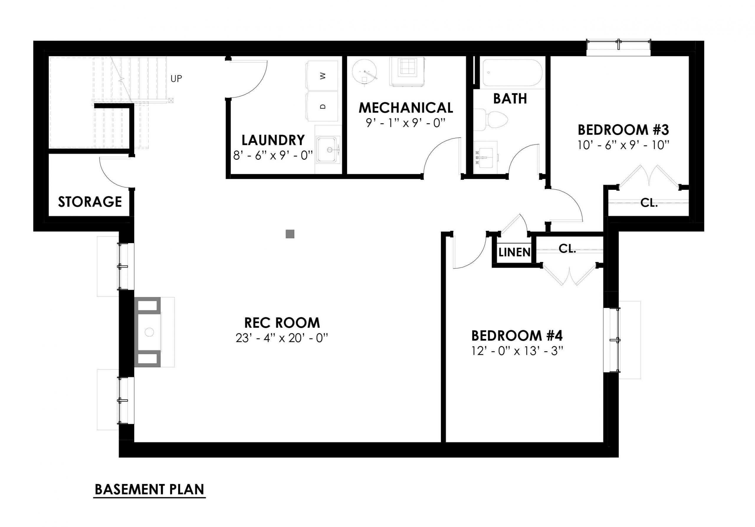 Normerica Timber Homes, Timber Frame, House Plans, The Herridge 3979, Basement Floor Plan
