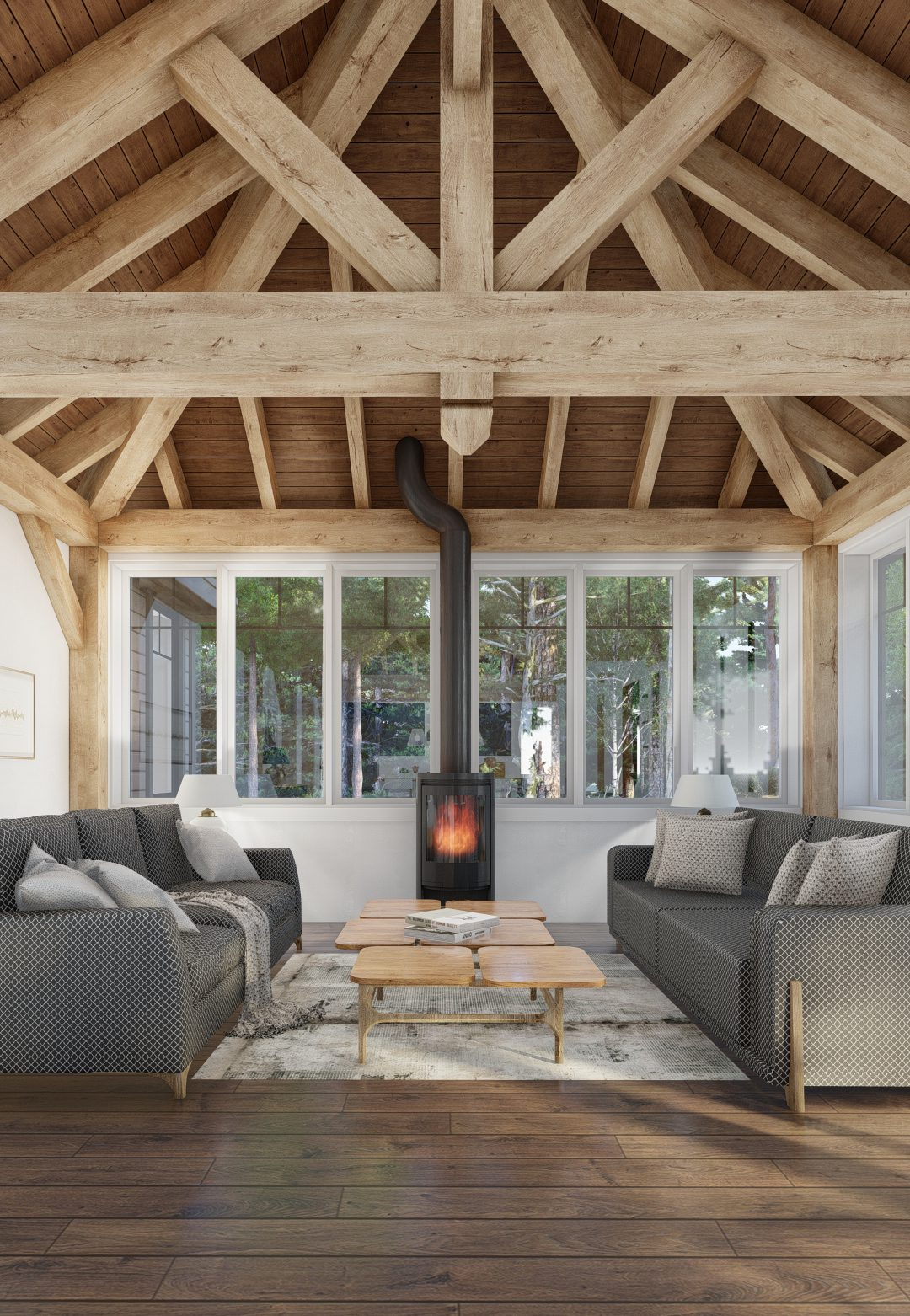 Normerica Timber Homes, Timber Frame, House Plans, The Herridge 3979, Interior, Living Room, Fireplace, Cathedral Ceiling
