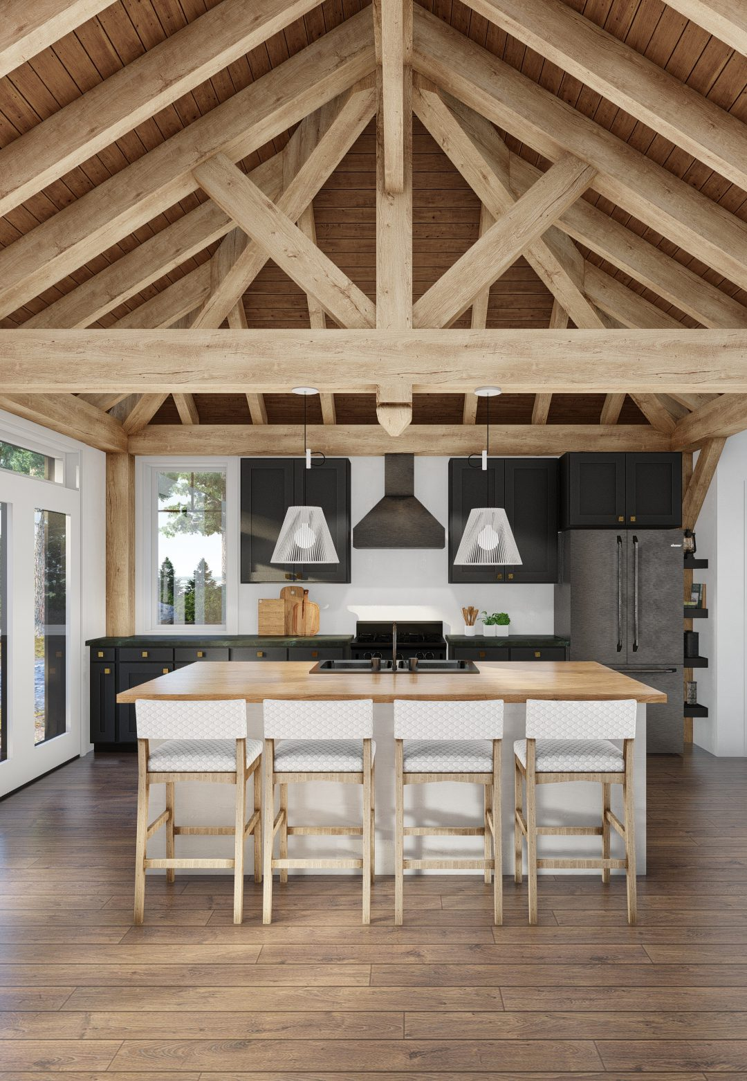 Normerica Timber Homes, Timber Frame, House Plans, The Herridge 3979, Interior, Dining Room, Kitchen, Cathedral Ceiling