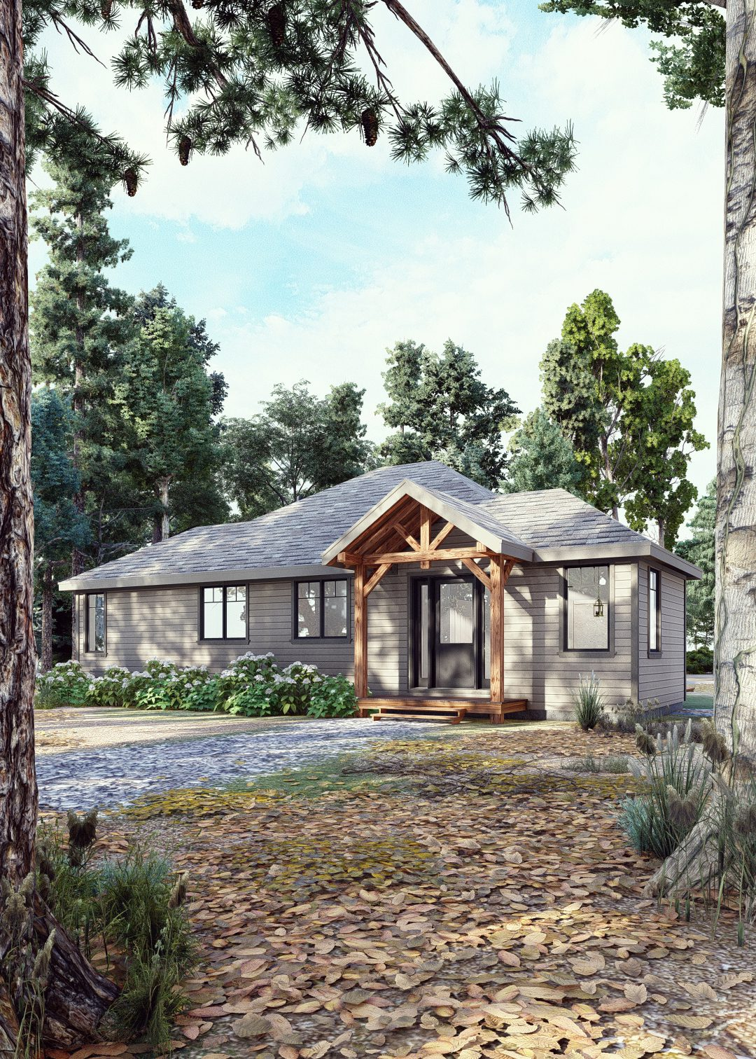 Timber Frame Bungalow Plans | The Herridge 3979 | Normerica | Exterior, Front