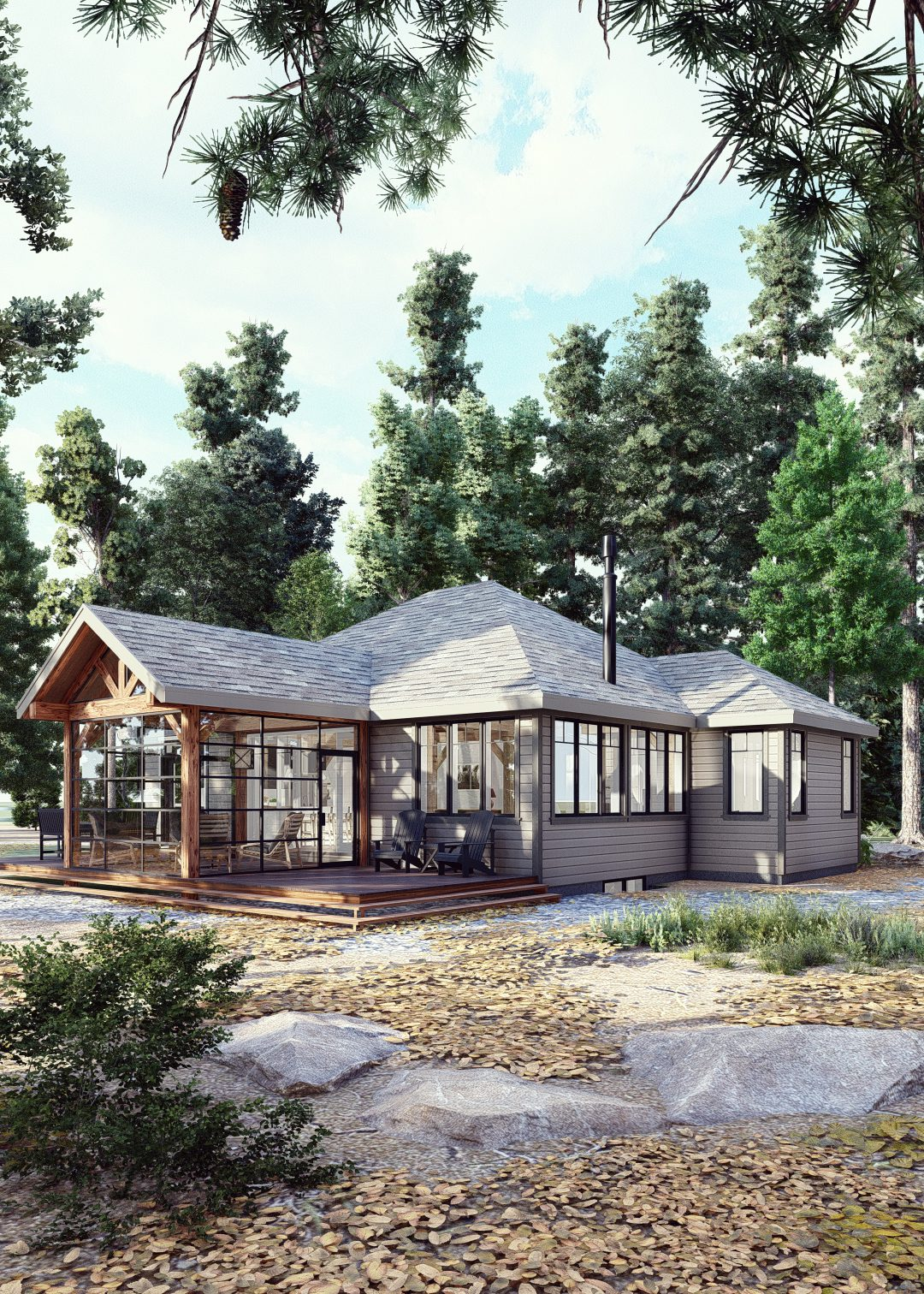 Normerica Timber Homes, Timber Frame, House Plans, The Herridge 3979, Exterior, Side, Front
