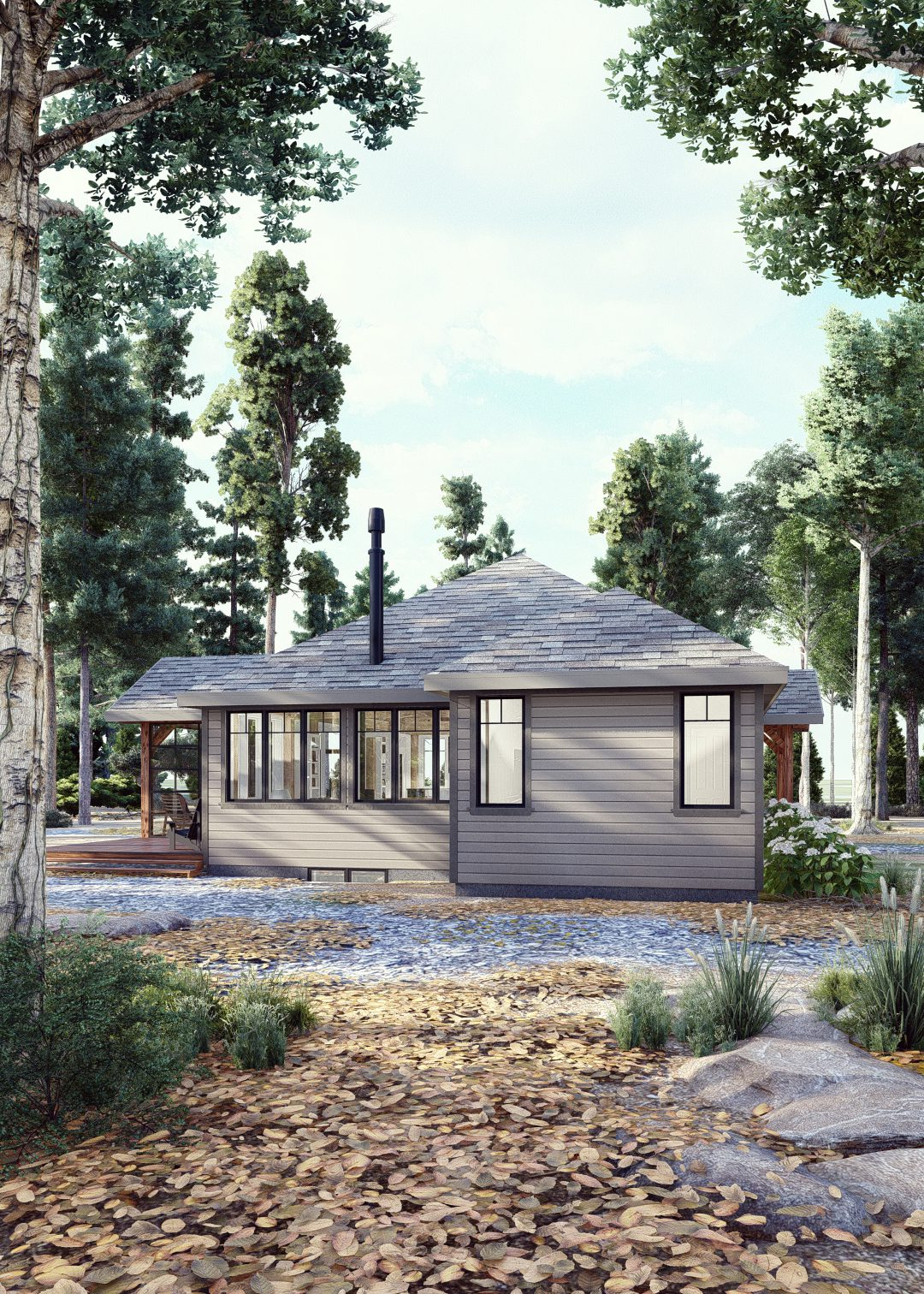 Normerica Timber Homes, Timber Frame, House Plans, The Herridge 3979, Exterior, Side