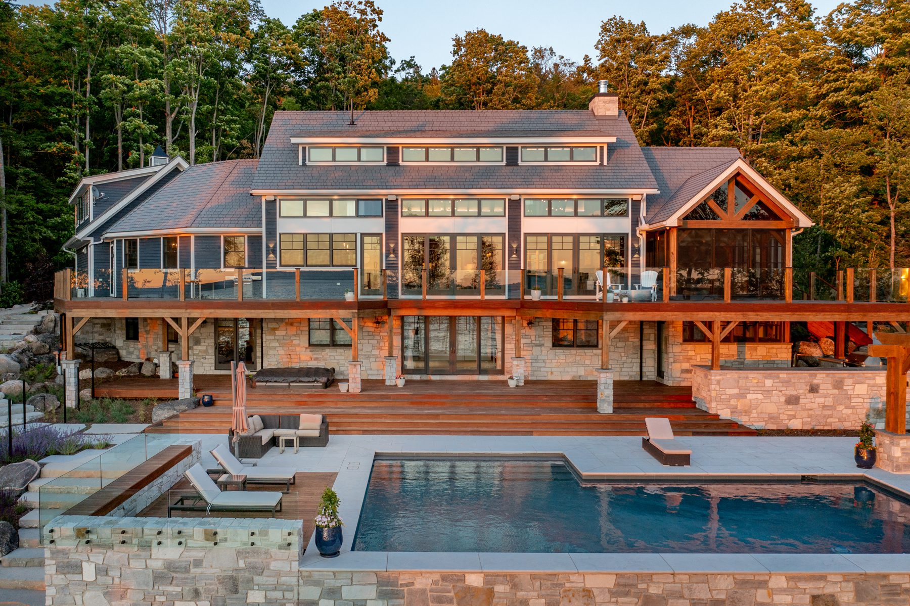 Normerica-Timber-Homes-Timber-Frame-Portfolio-Beachside-Bliss-Exterior-Back-view-Pool