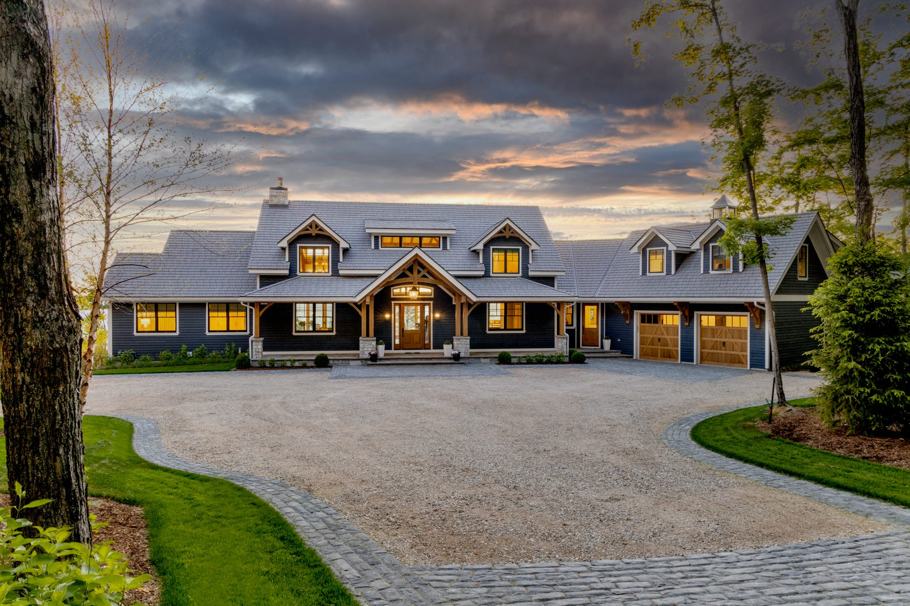 Custom Beachside Home | Timber Frame Homes | Normerica | Exterior, Front View, Evening, Garage