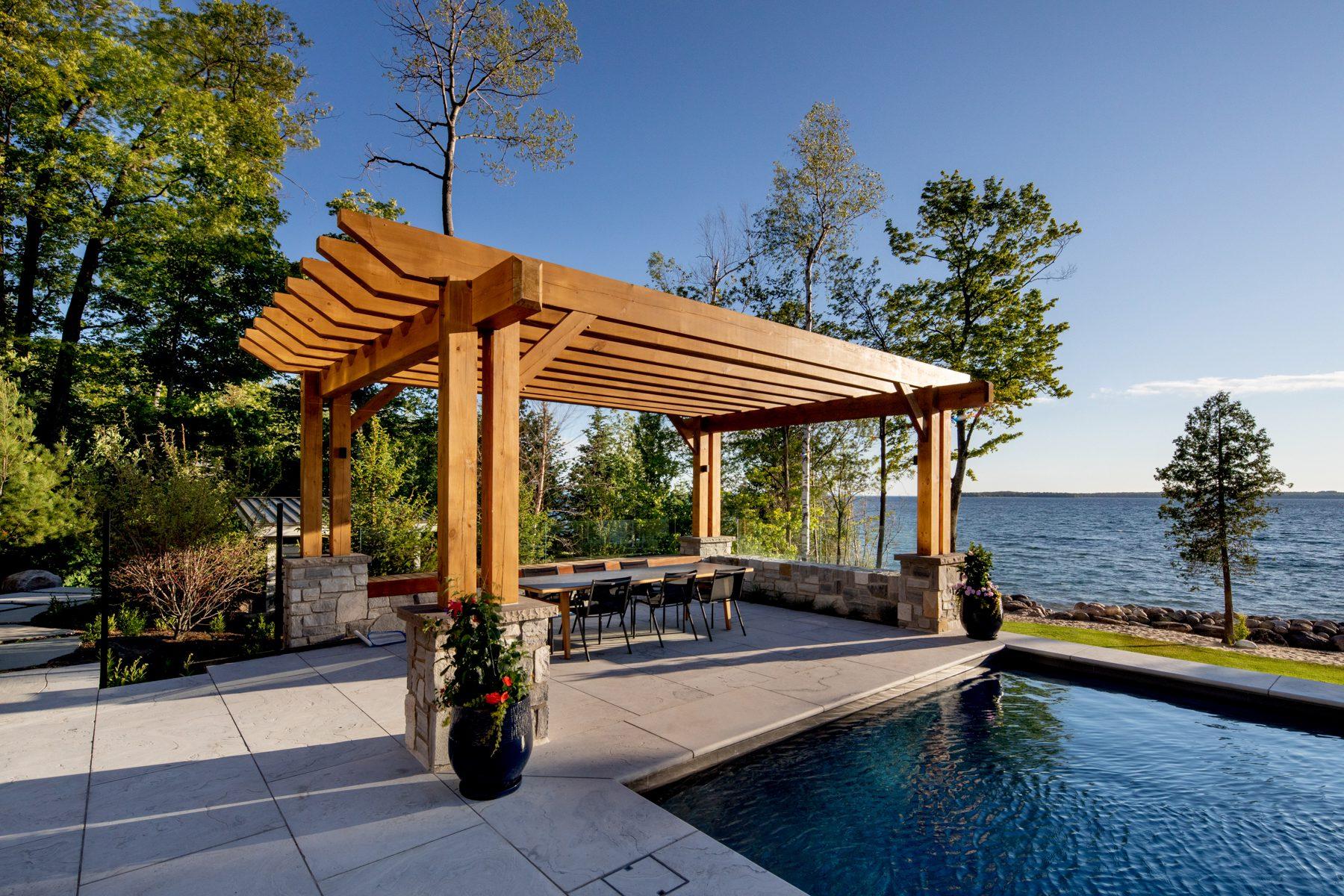 Normerica-Timber-Homes-Timber-Frame-Portfolio-Beachside-Bliss-Exterior-Pool-Timber-Pergola-Outdoor-Dining-Outdoor-Entertaining