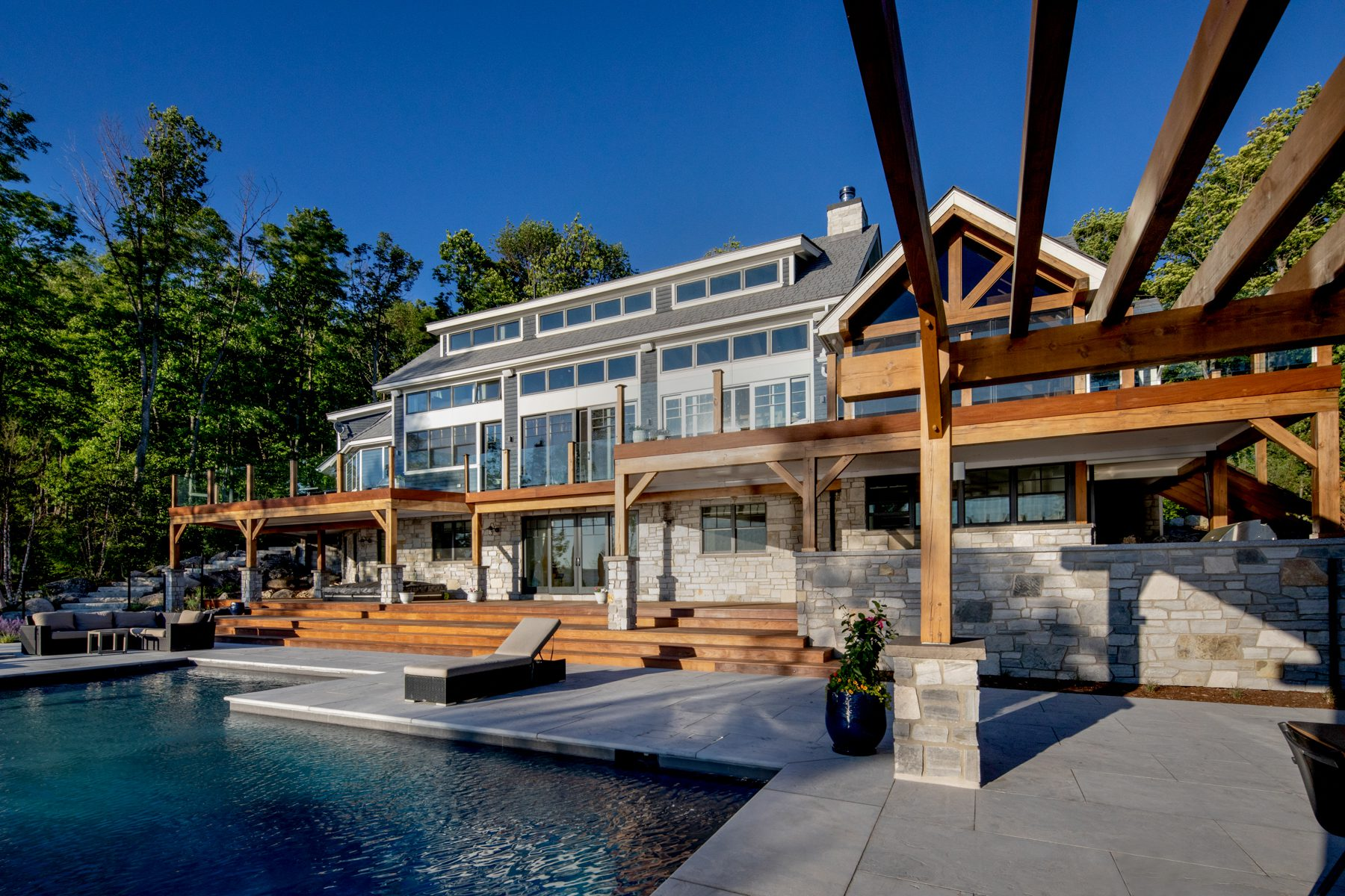 Normerica-Timber-Homes-Timber-Frame-Portfolio-Beachside-Bliss-Exterior-Rear-View-Pool