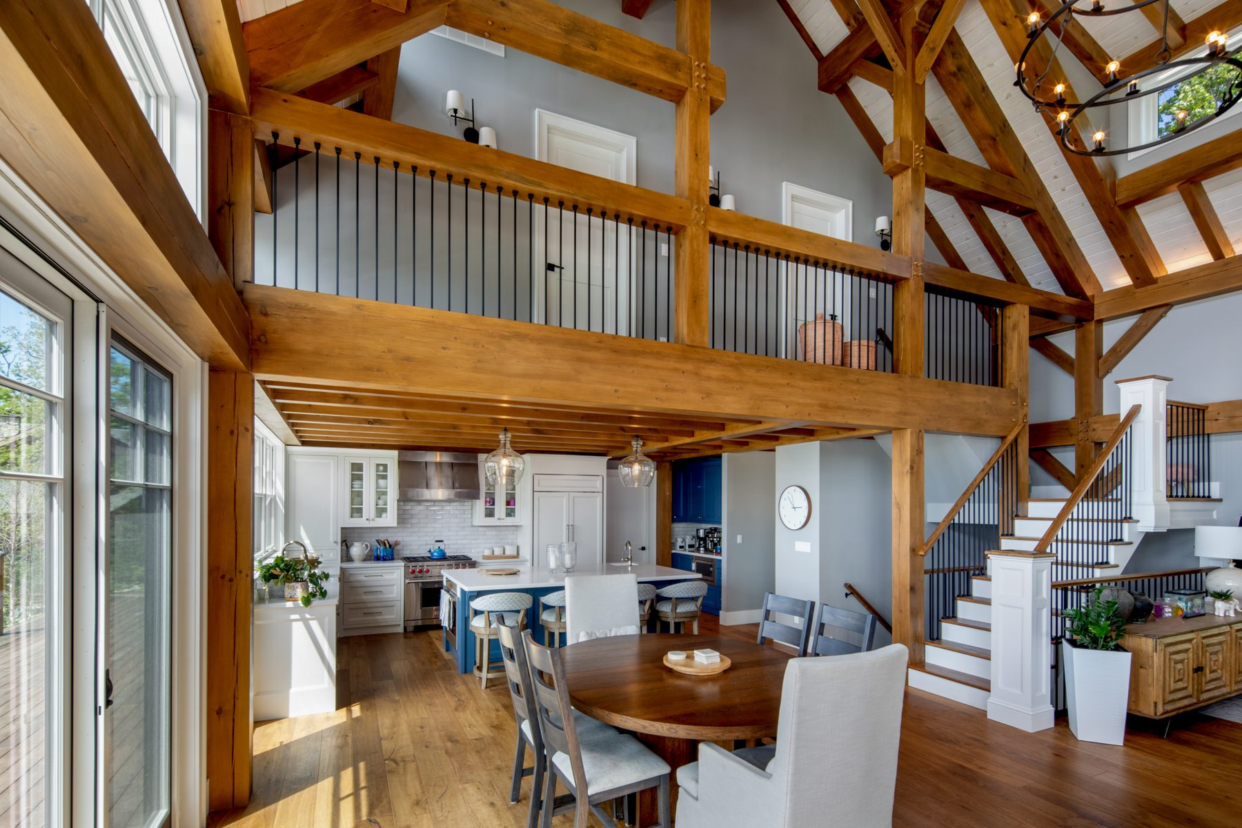 Normerica-Timber-Homes-Timber-Frame-Portfolio-Beachside-Bliss-Interior-Dining-Room-Kitchen-Loft-Cathedral-Ceilings-Open-Concept